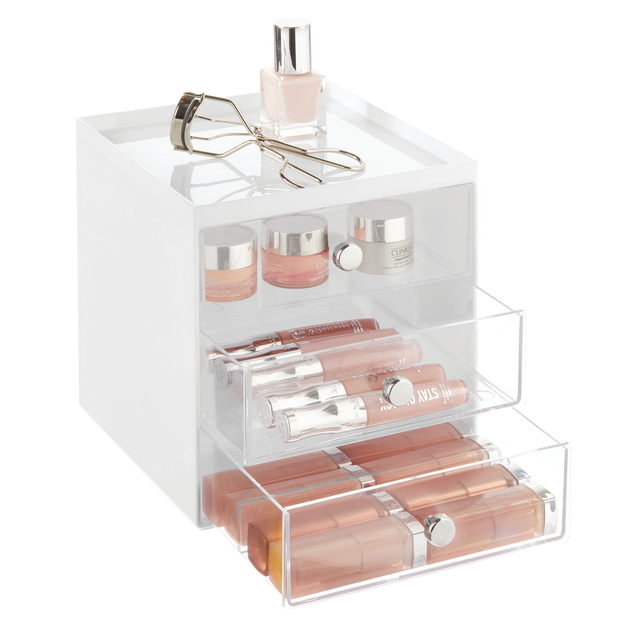 mDesign-Plastic-Makeup-Storage-Organizer-Cube-3-Drawers thumbnail 77