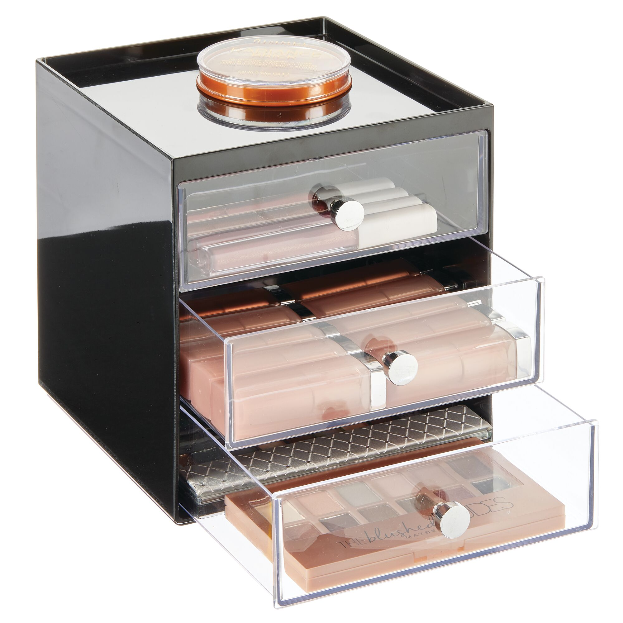 mDesign-Plastic-Makeup-Storage-Organizer-Cube-3-Drawers thumbnail 17