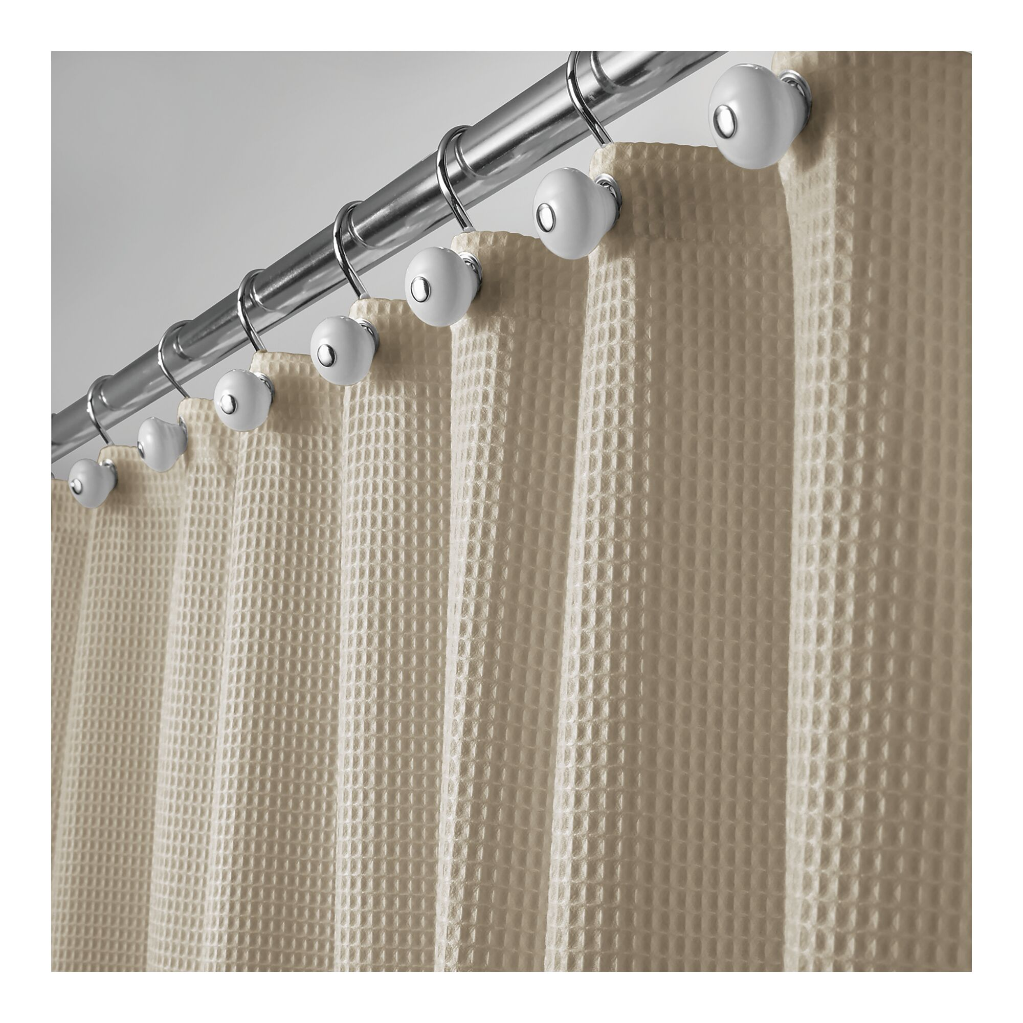 Mdesign Extra Long Waffle Weave Fabric Shower Curtain 72 X 96