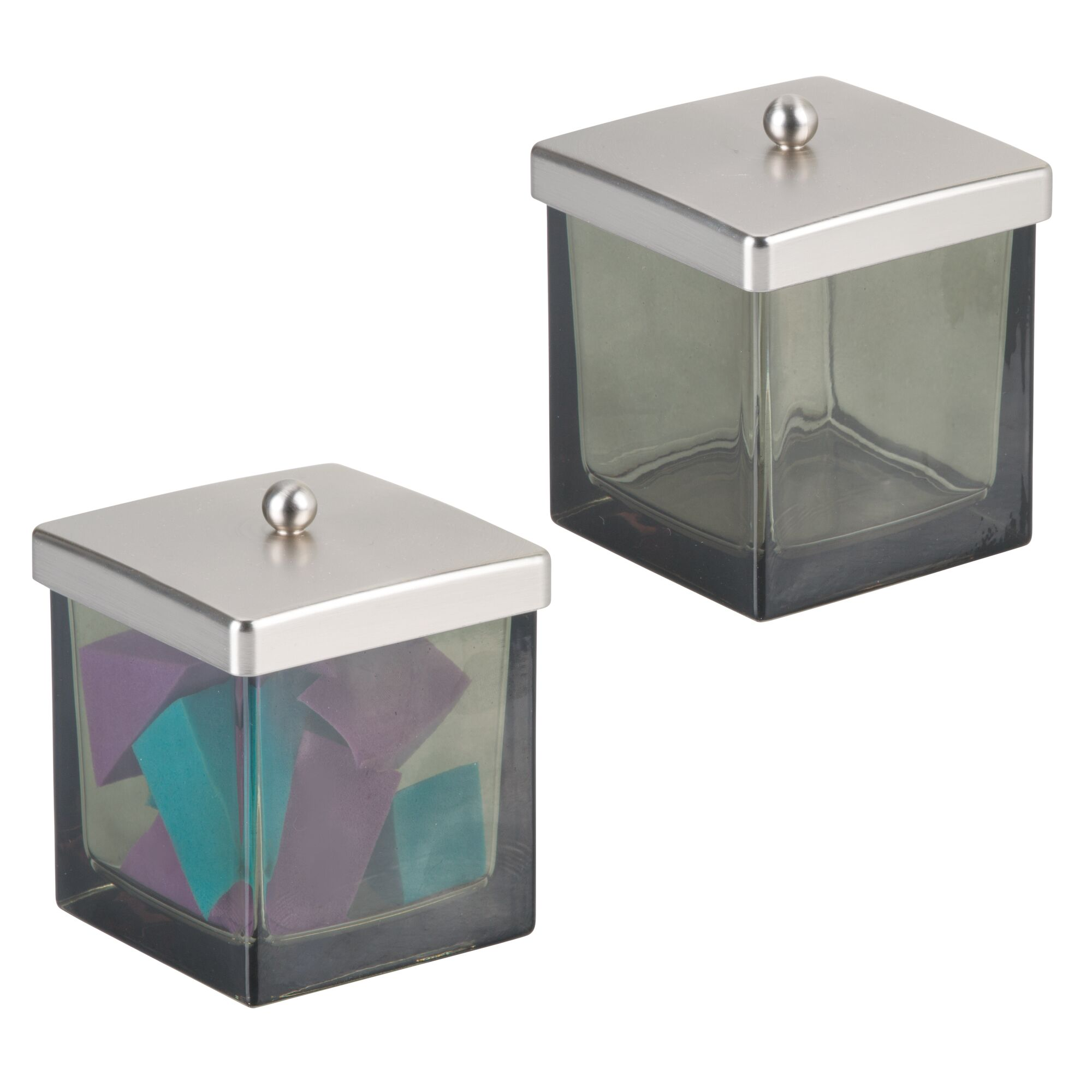 mdesign glass storage apothecary jar for bathroom vanity, 2 pack | ebay
