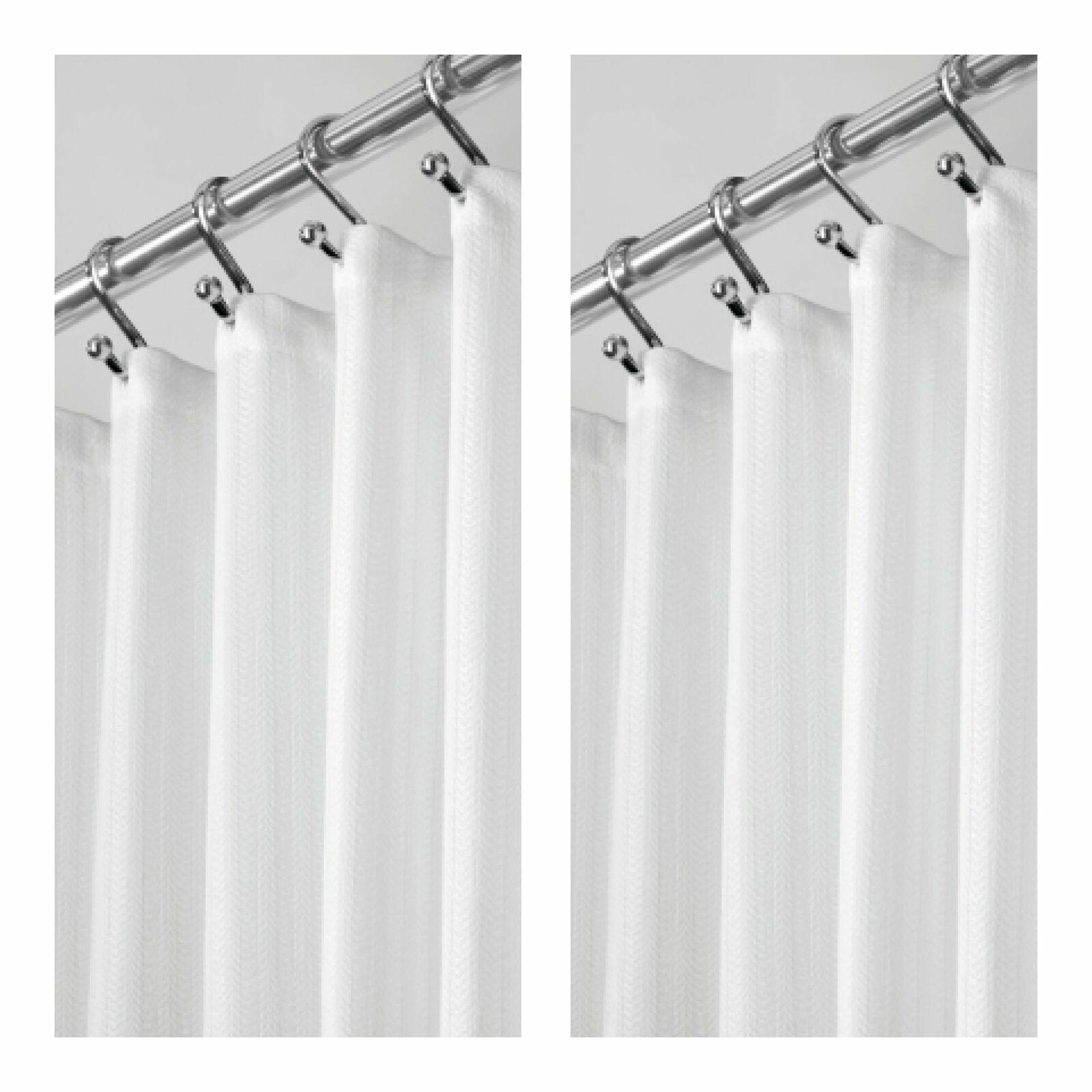 "mDesign LONG Herringbone Weave Fabric Shower Curtain 84/"" Long White"
