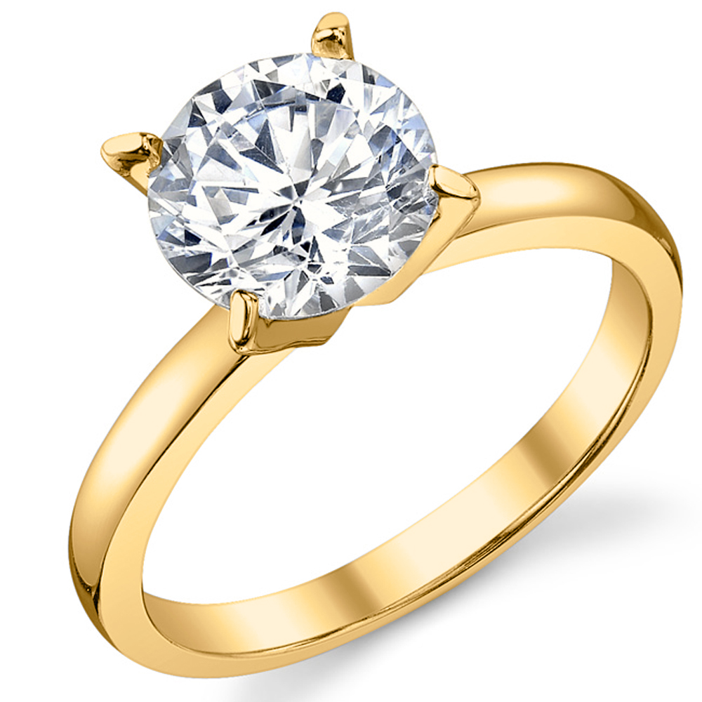 6424e2cf1921 Fabulous Sterling Silver 925 engagement ring with Cubic Zirconia. The  center stone is a 2 carat round brilliant cut. The ring is Gold Tone plated  as well ...