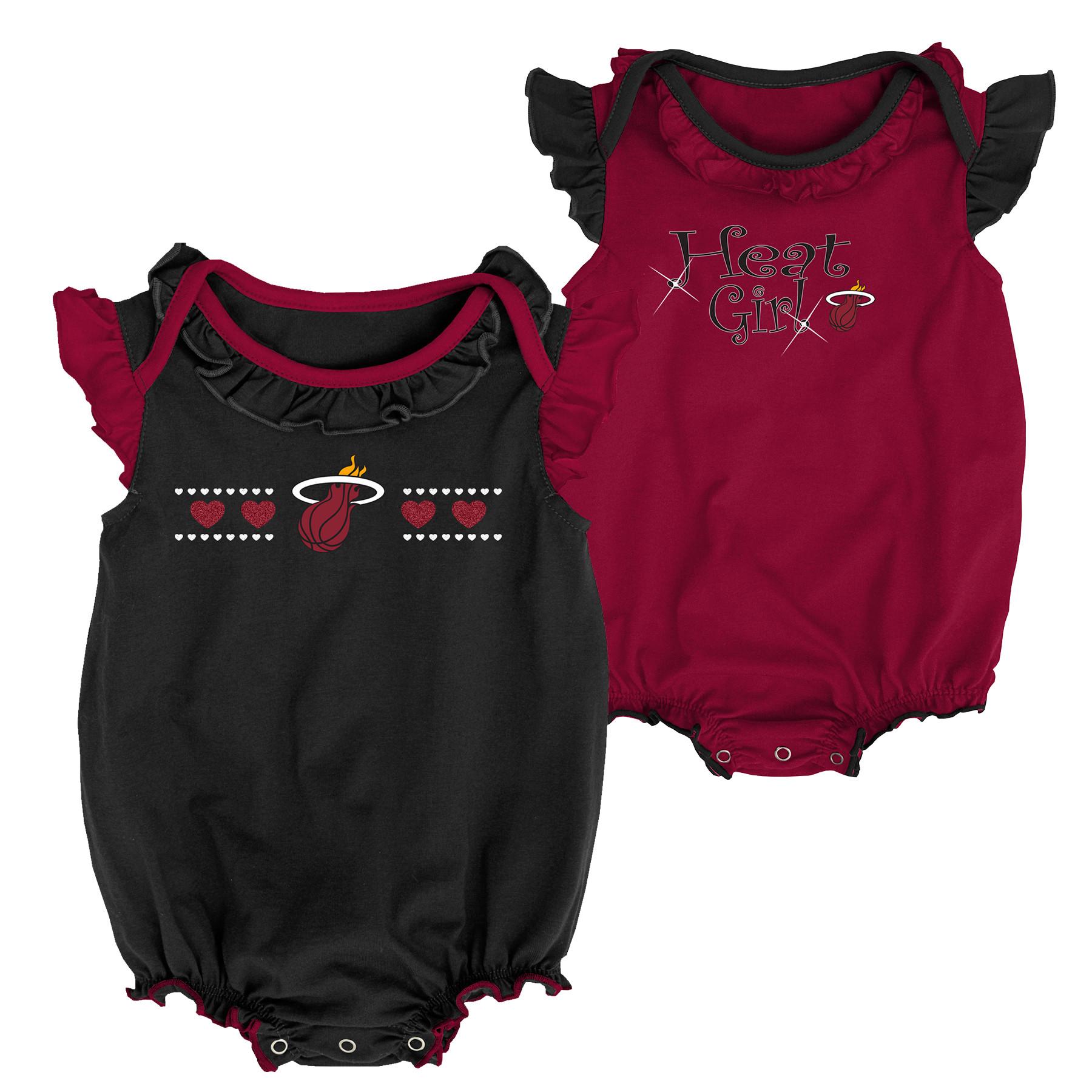 56e8715cdc2 NBA by Outerstuff Infant Miami Heat Homecoming 2pc Bodysuit Set, Black, 0-3  M