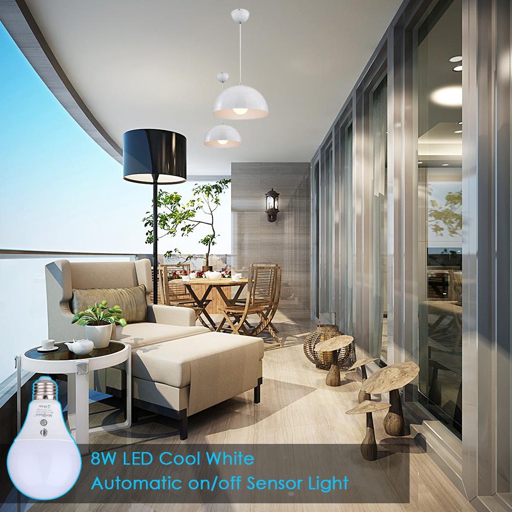 Open Window At Dusk: E26 8W LED Dusk To Dawn Light Sensor Bulbs Built-in