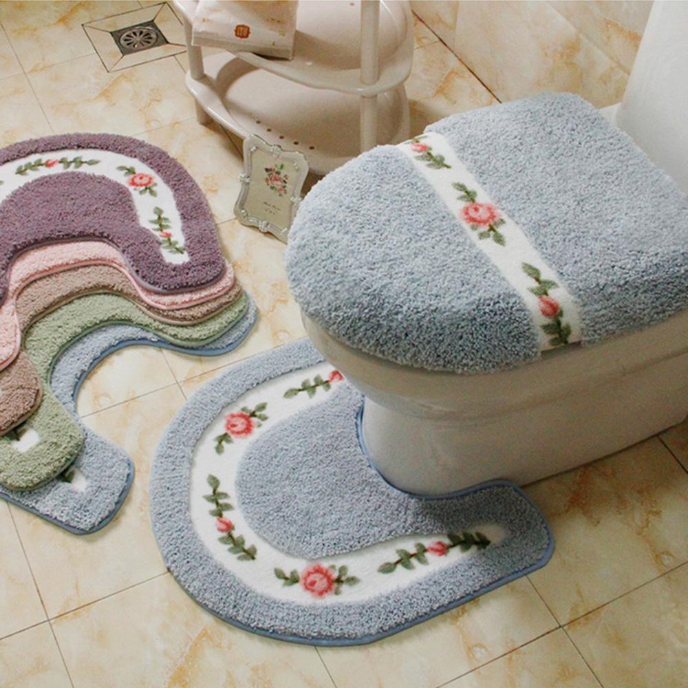 Soft Floral Non-Slip Toilet Contour Rug U-shaped Floor Toilet Lid ...