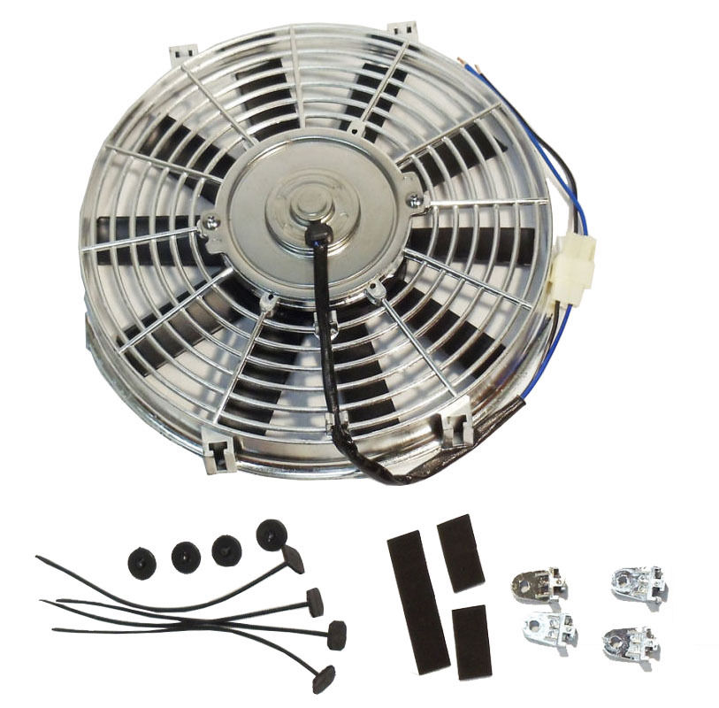"""Dual 16/"""" Curved S-Blade Universal Electric Radiator Cooling Fans w// Mounting Kit"""