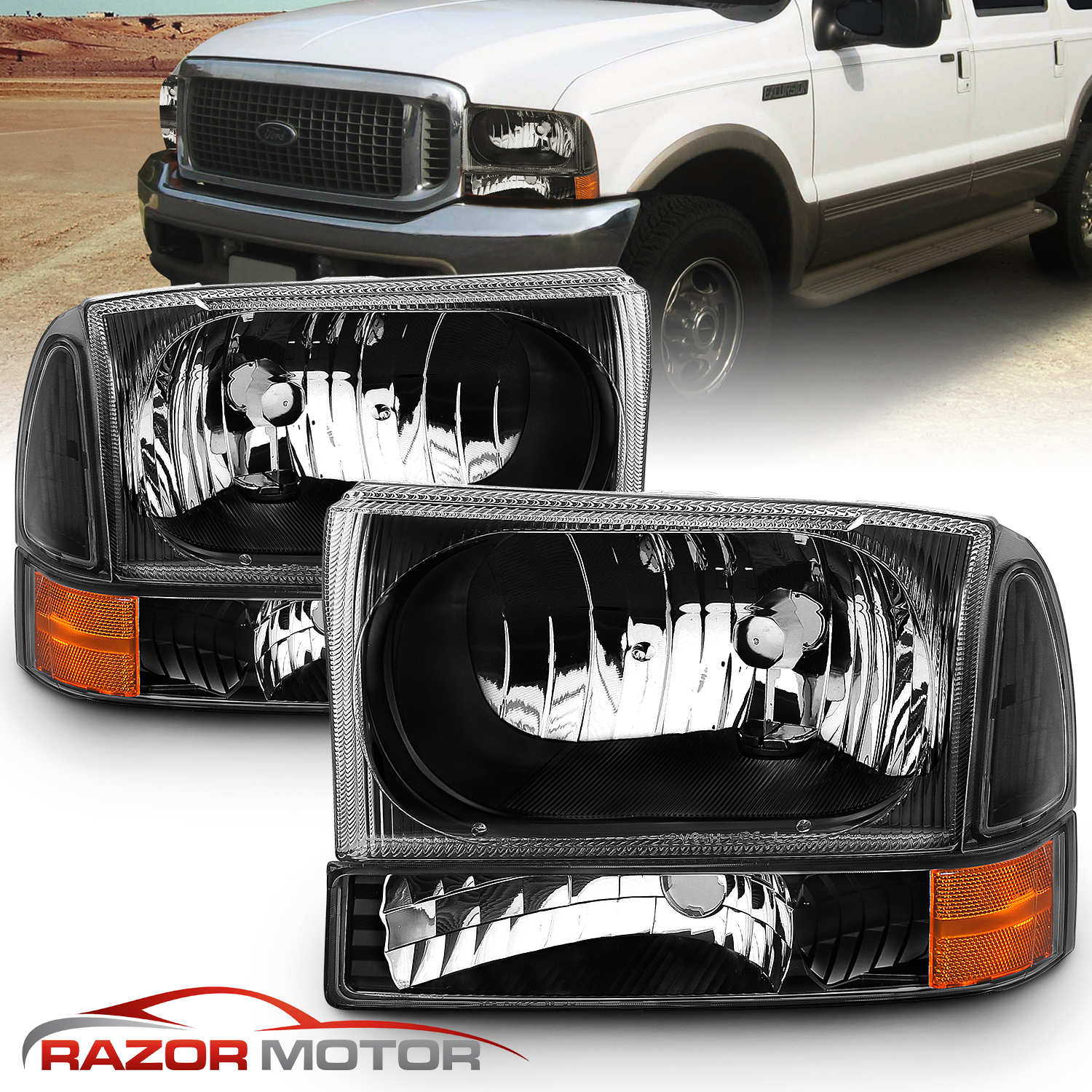DAT AUTO PARTS Black Head LAMP Door for USE with Sealed Beams Replacement for 99-04 Ford F-Series Super Duty FO2512157 Left Driver Side