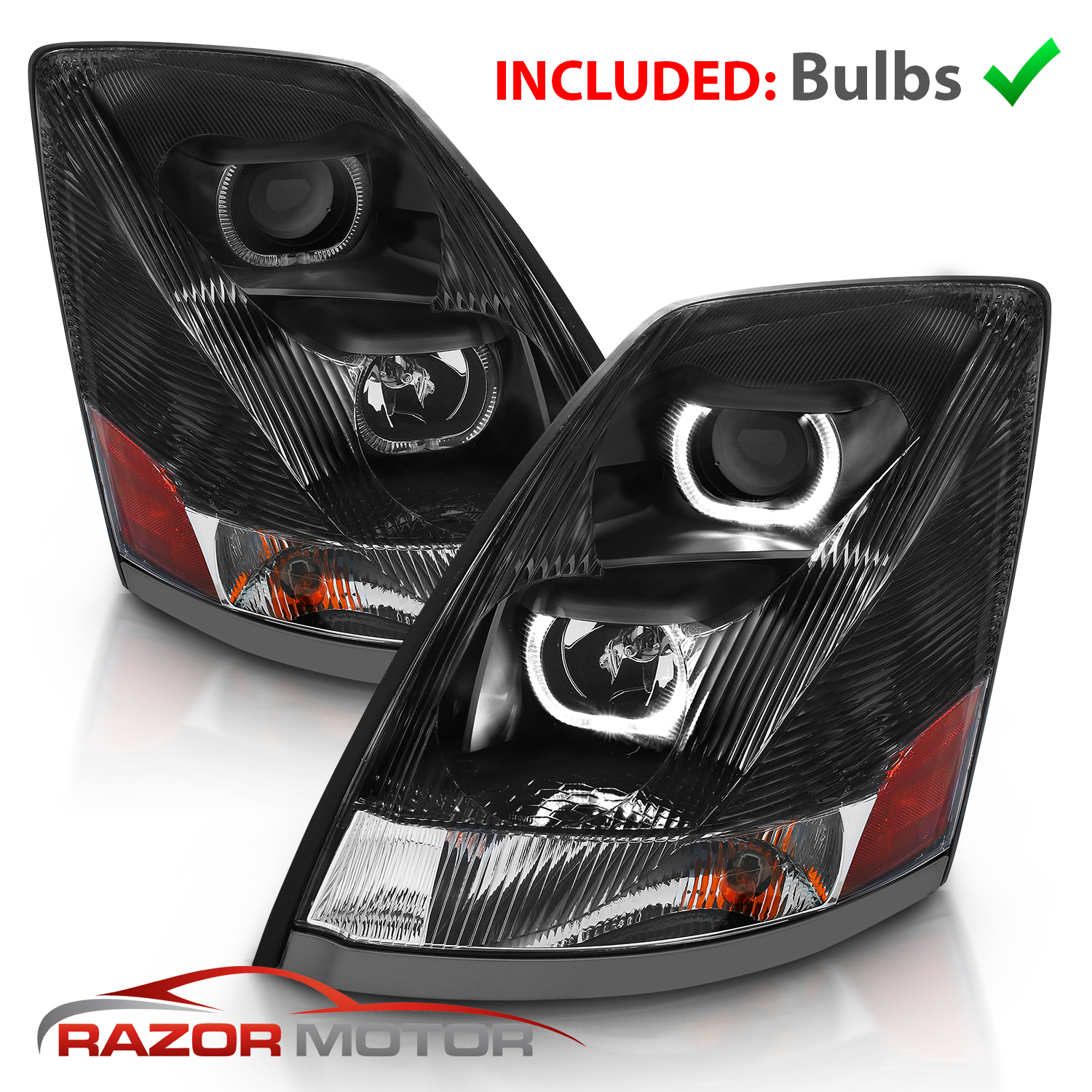 Aftermarket Headlight Pair L+R Chrome, Halo For 2003-2007 Cadillac CTS