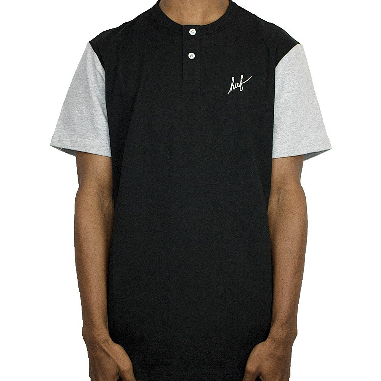 4087e51df Huf Mens Script Henley Shirt TS00021, Black/Ash Heather, L | eBay