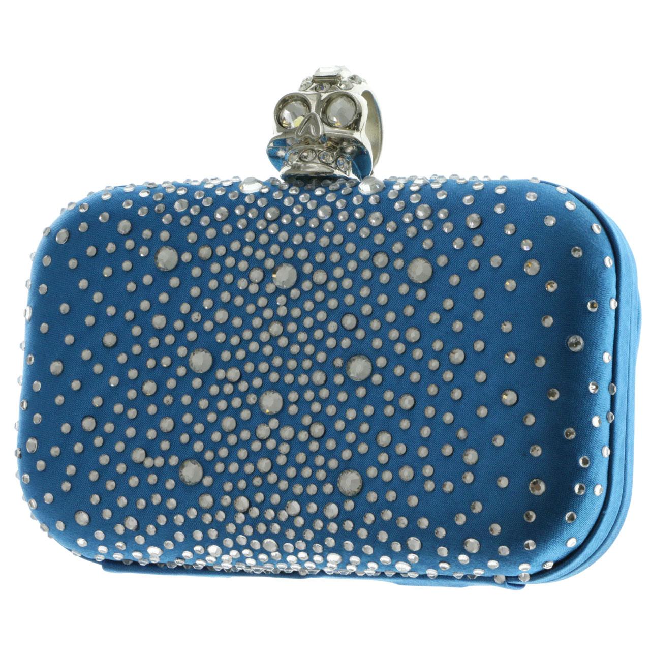 15fe54e13e Mi Amore Skull Ring Clutch-Purse Blue & Silver-Tone 763952343198 | eBay