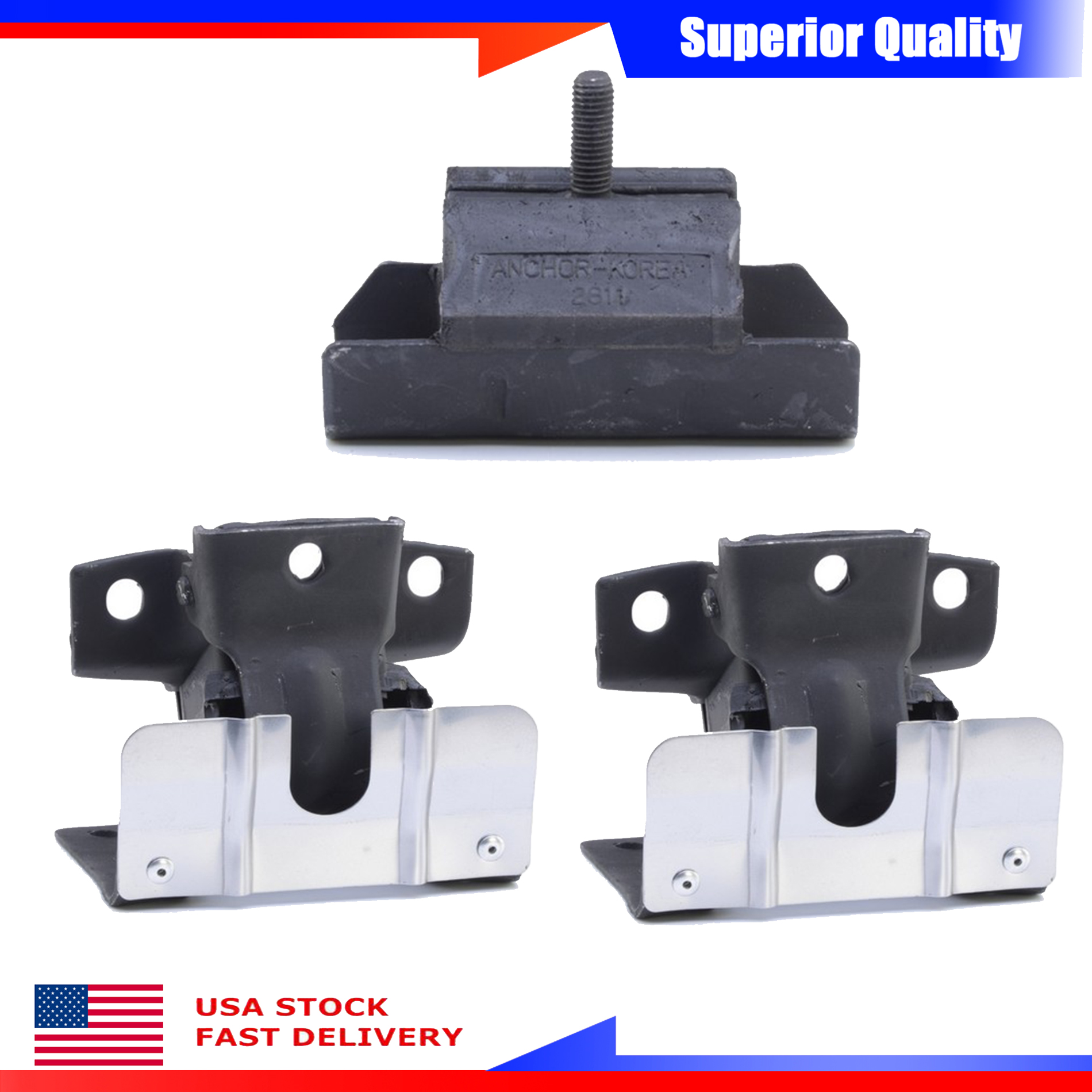 Anchor New Engine Motor /& Trans Mount Set 3PCs For Chevrolet K1500 K2500 K3500