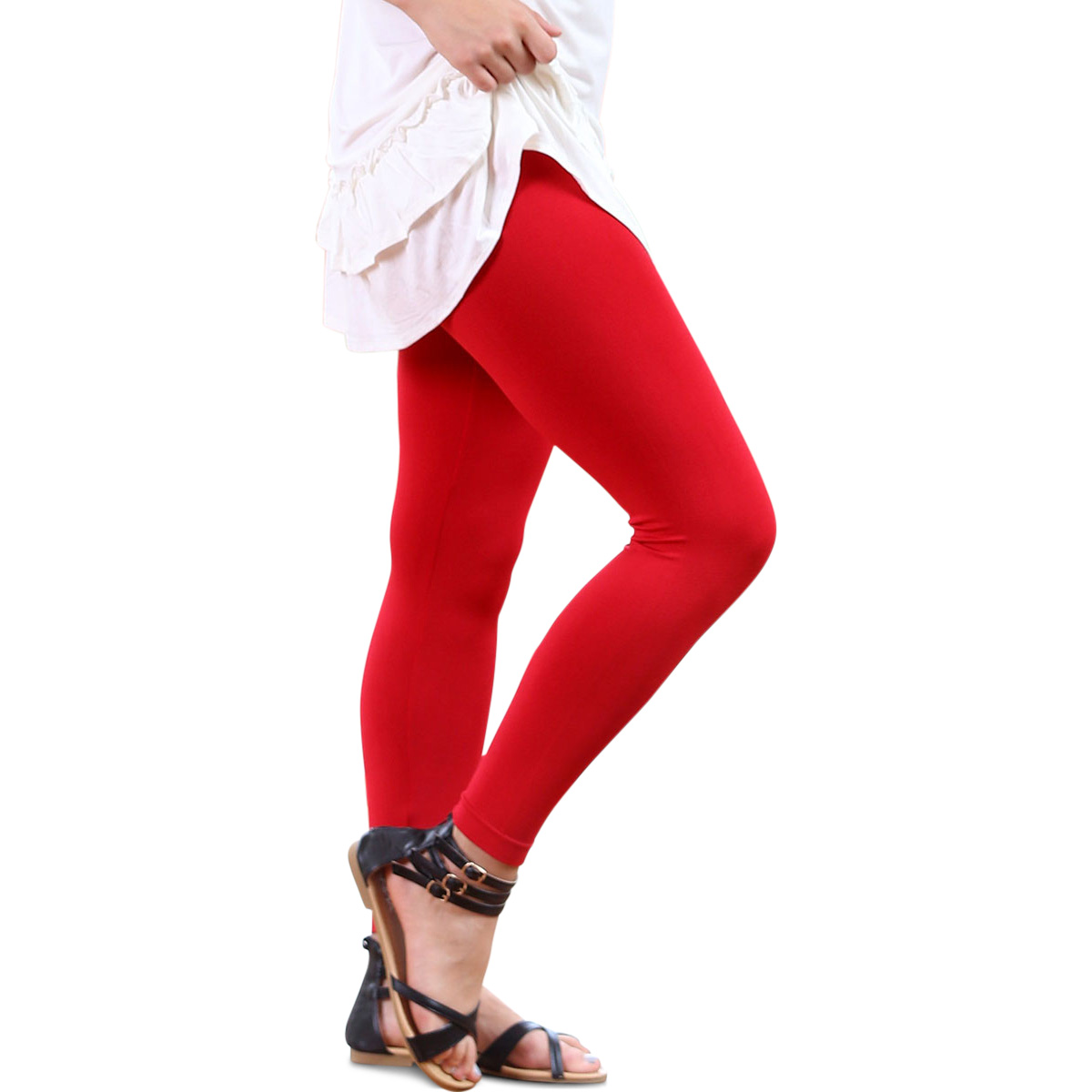 Solid Capri Leggings Red