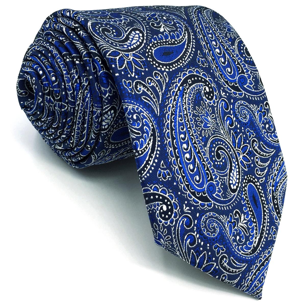 d48a9b45ec1f E2 Fashion Necktie Tie For Men Royal Blue Paisley 63