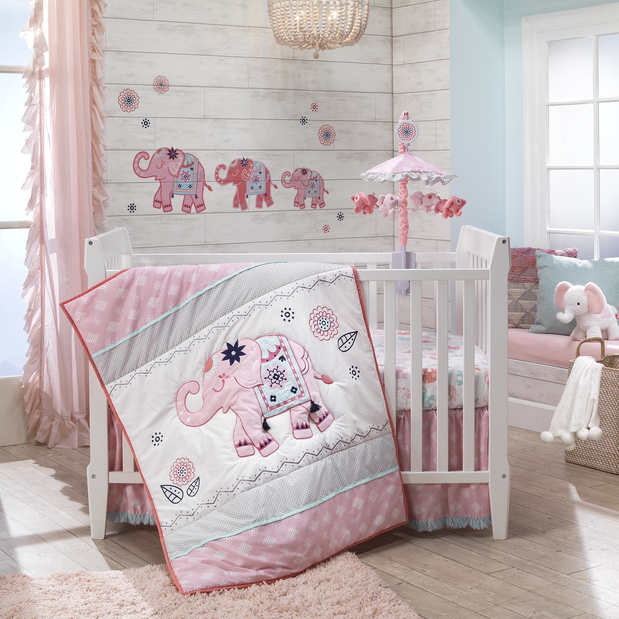 Details about Lambs & Ivy Boho Elephant Pink/Gray/White Nursery 5-Piece  Baby Crib Bedding Set