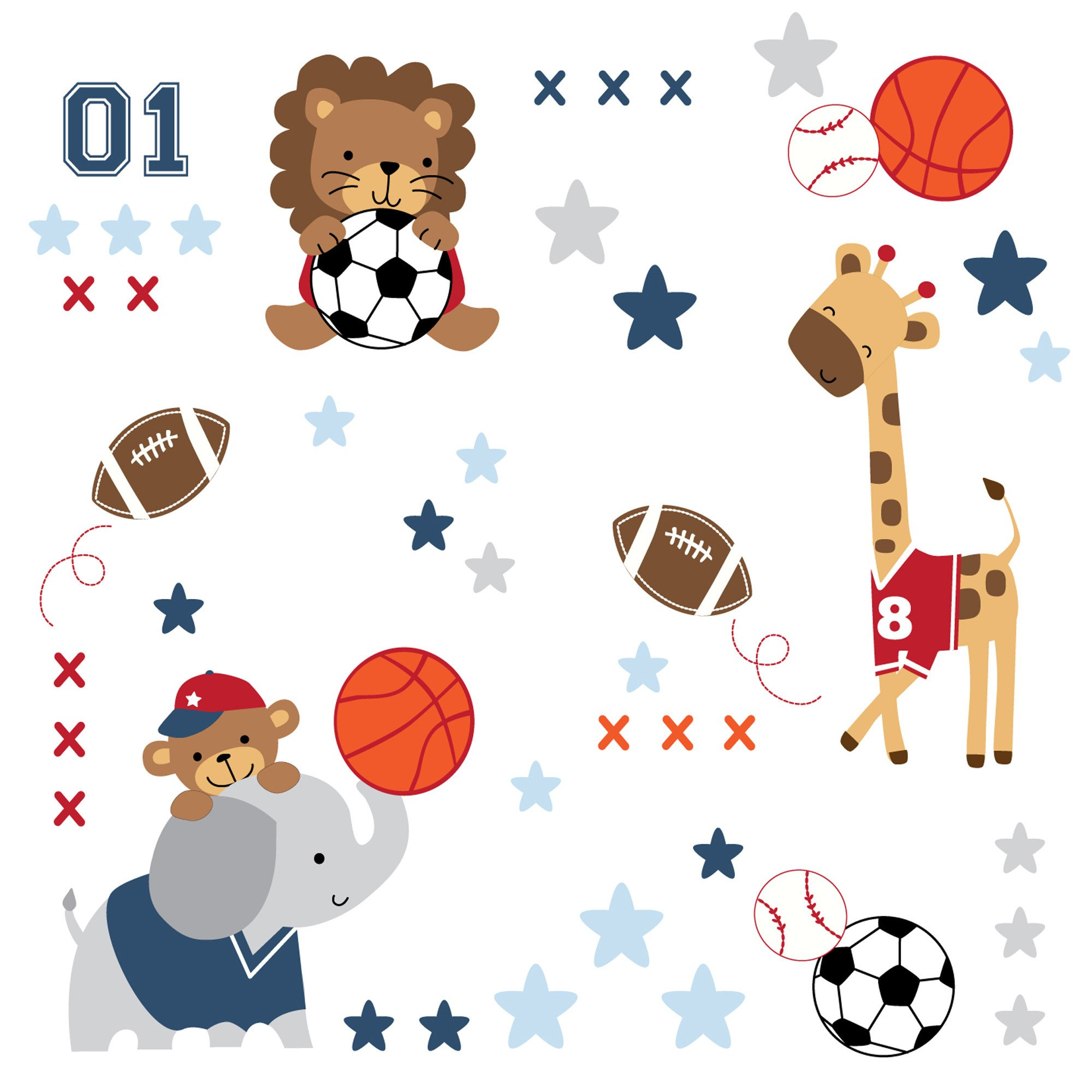 87df1778f7f81 Details about Lambs & Ivy Future All Star Wall Decals/Appliques - Blue,  Animals, Sports