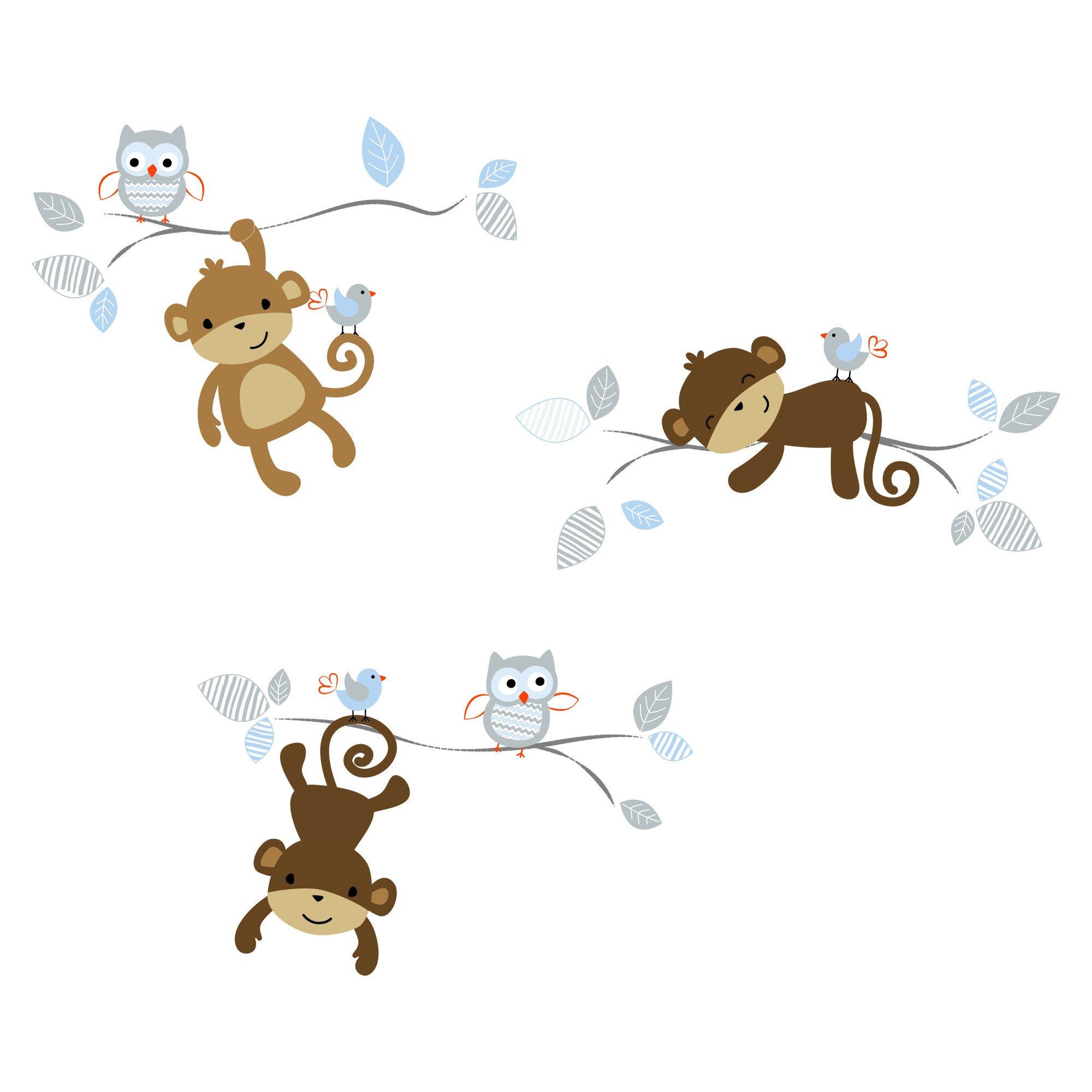 Bedtime Originals Mod Monkey Wall Decals Appliques Blue Gray