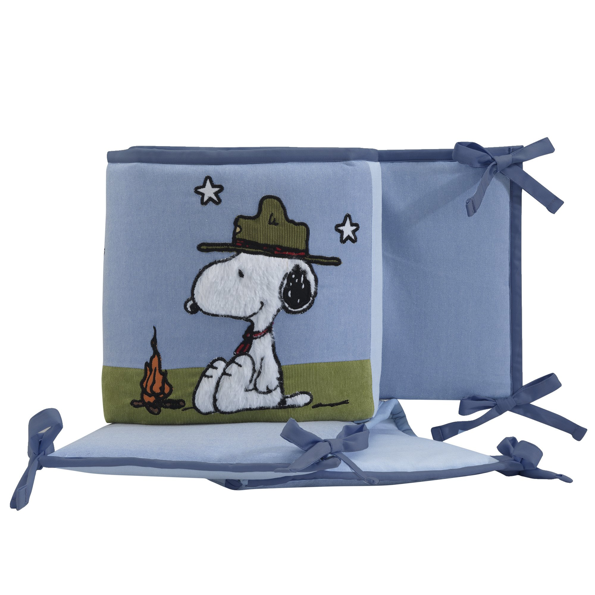 Lambs /& Ivy Ryan Collection Aqua Blue//Gray 4-Piece Reversible Baby Crib Bumper