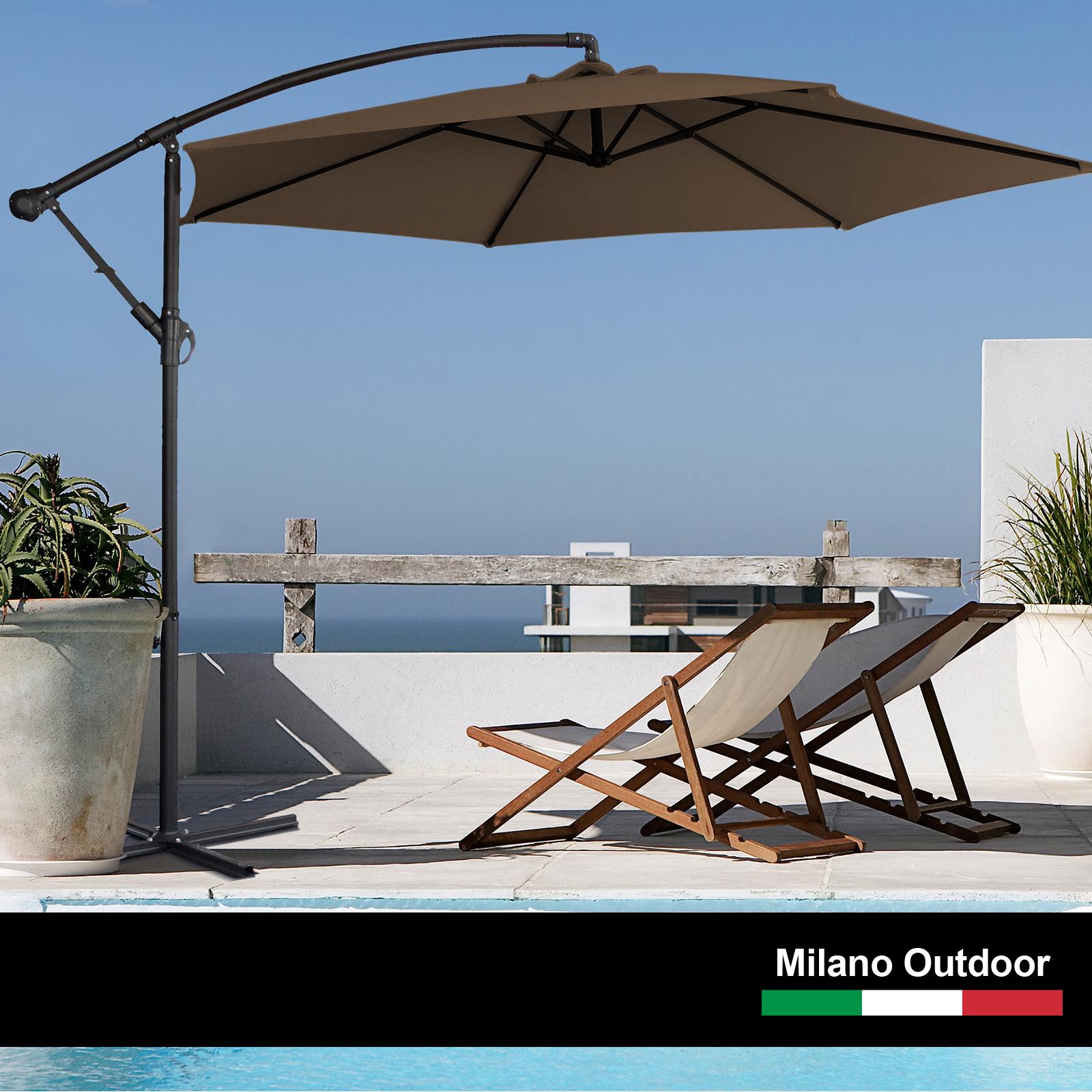 thumbnail 59 - Milano Outdoor 3 Metre Cantilever Umbrella UV Sunshade Garden Patio Deck