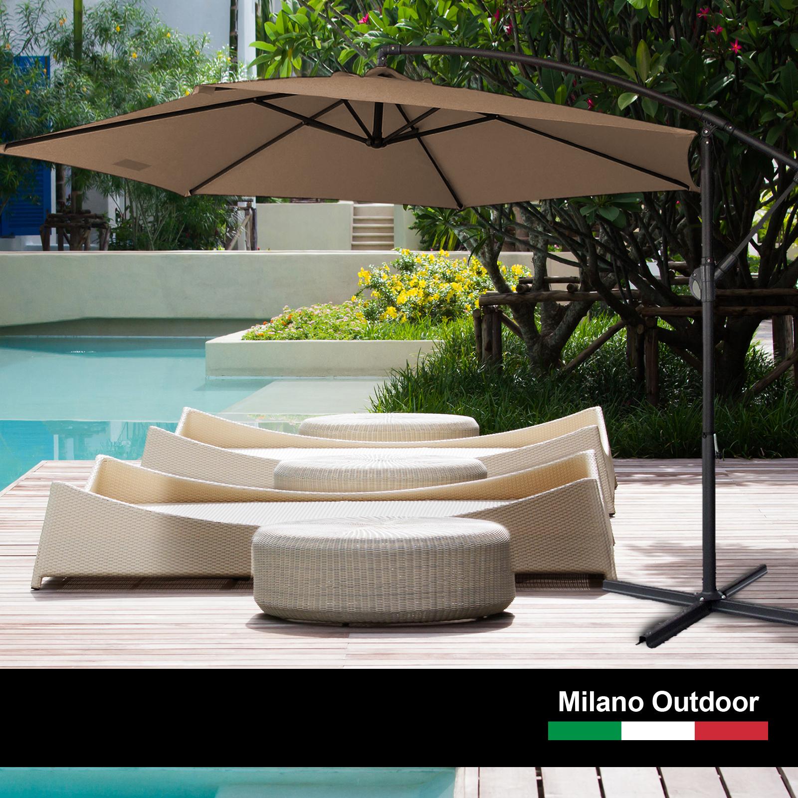 thumbnail 51 - Milano Outdoor 3 Metre Cantilever Umbrella UV Sunshade Garden Patio Deck