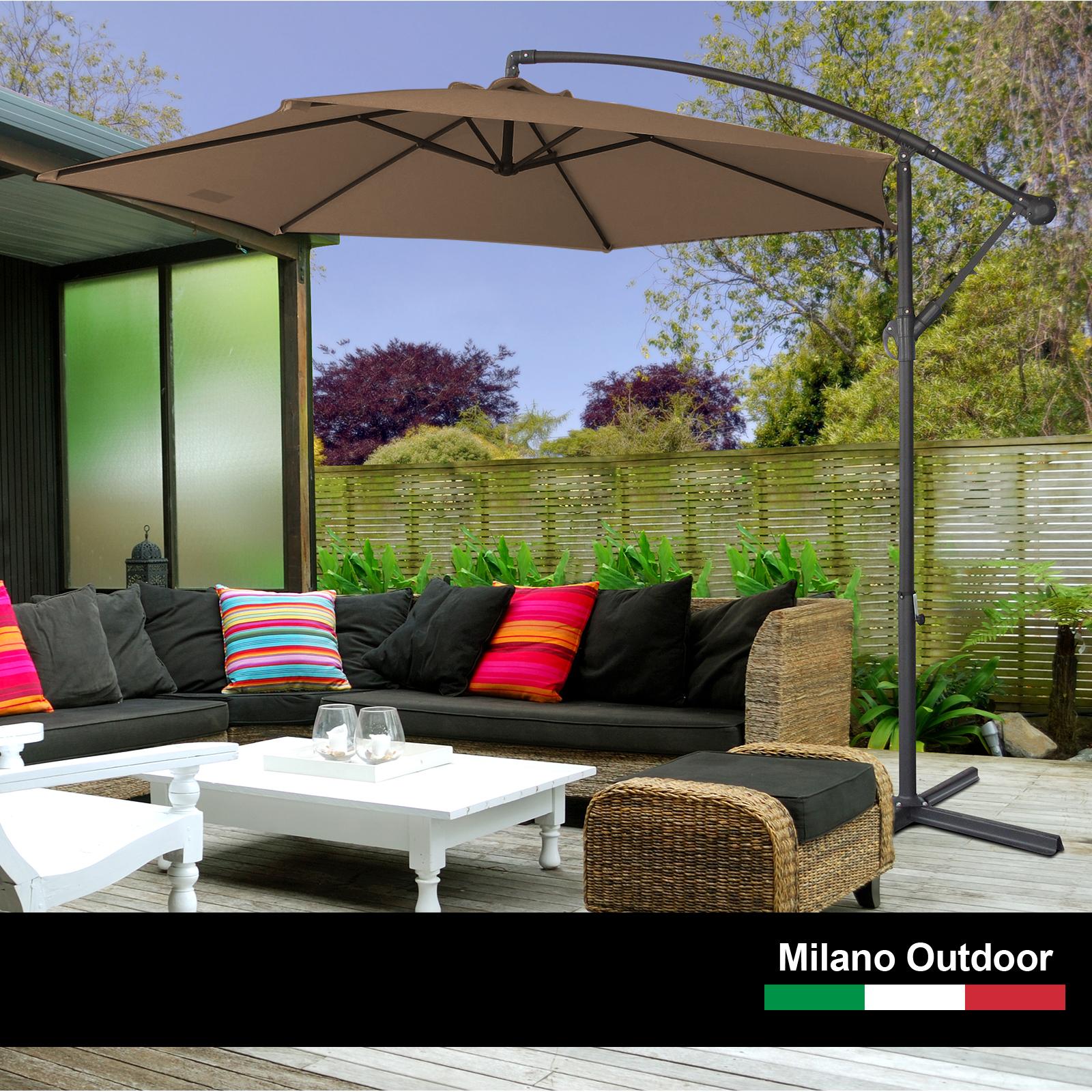 thumbnail 52 - Milano Outdoor 3 Metre Cantilever Umbrella UV Sunshade Garden Patio Deck