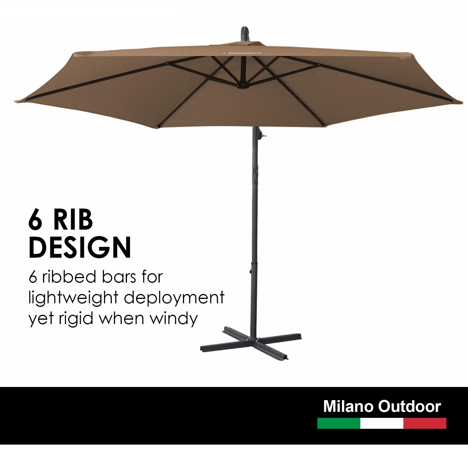 thumbnail 53 - Milano Outdoor 3 Metre Cantilever Umbrella UV Sunshade Garden Patio Deck