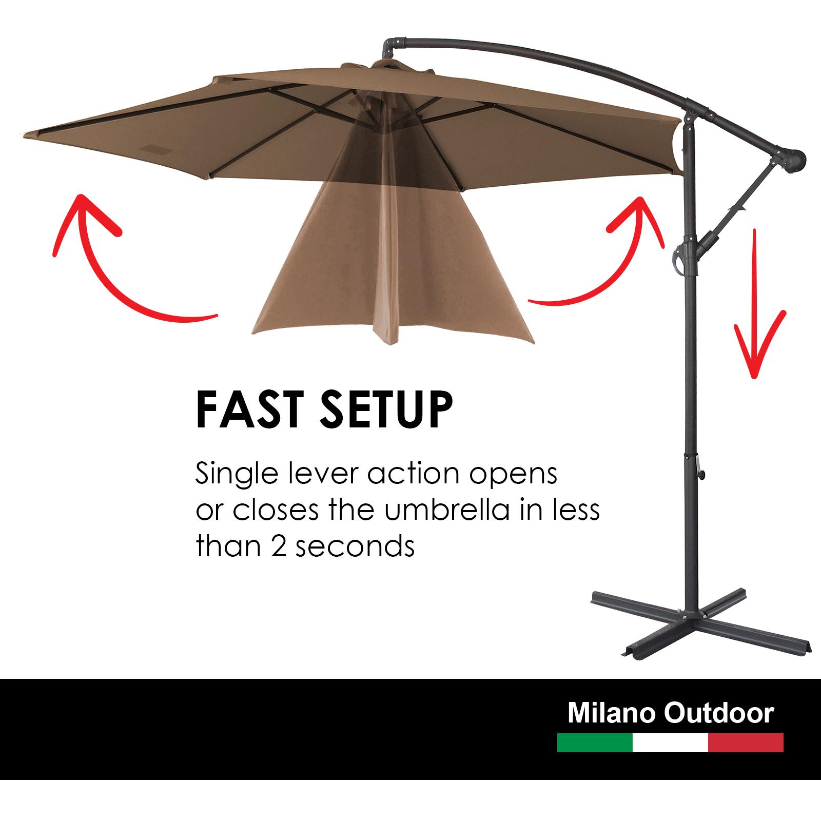 thumbnail 54 - Milano Outdoor 3 Metre Cantilever Umbrella UV Sunshade Garden Patio Deck