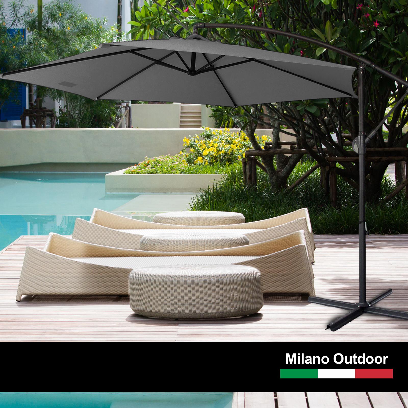 thumbnail 21 - Milano Outdoor 3 Metre Cantilever Umbrella UV Sunshade Garden Patio Deck