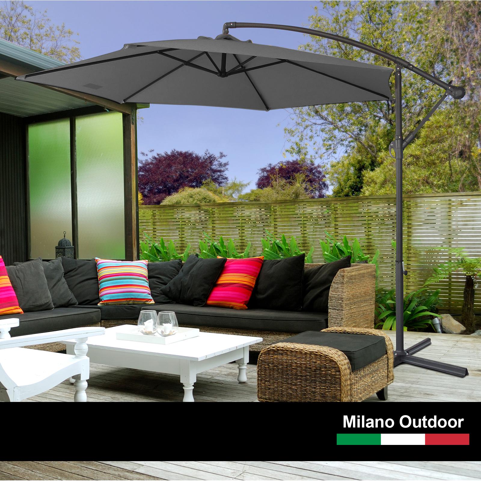 thumbnail 22 - Milano Outdoor 3 Metre Cantilever Umbrella UV Sunshade Garden Patio Deck