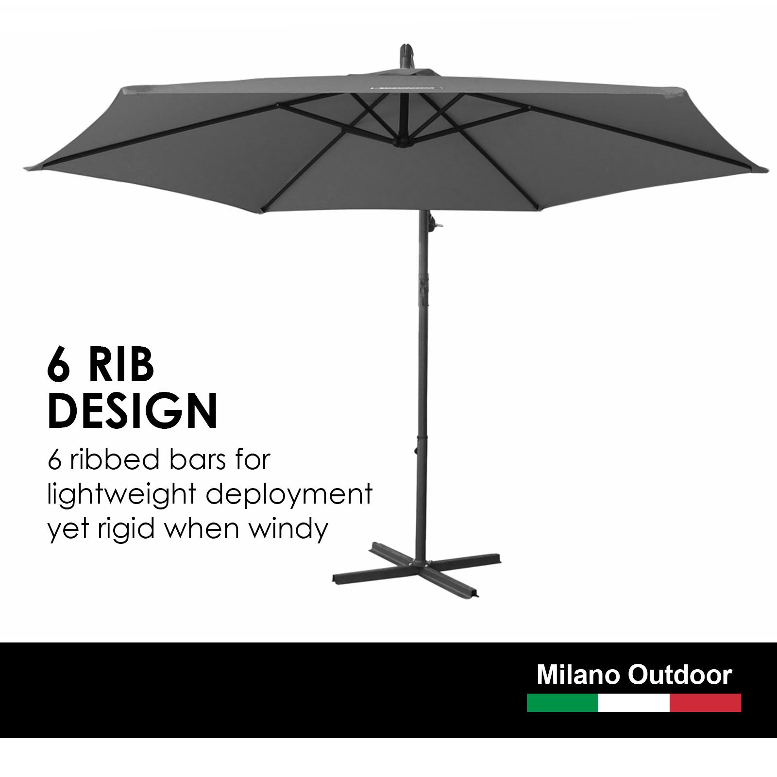 thumbnail 23 - Milano Outdoor 3 Metre Cantilever Umbrella UV Sunshade Garden Patio Deck