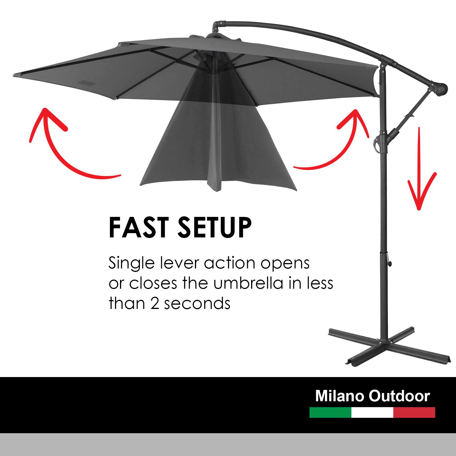 thumbnail 24 - Milano Outdoor 3 Metre Cantilever Umbrella UV Sunshade Garden Patio Deck