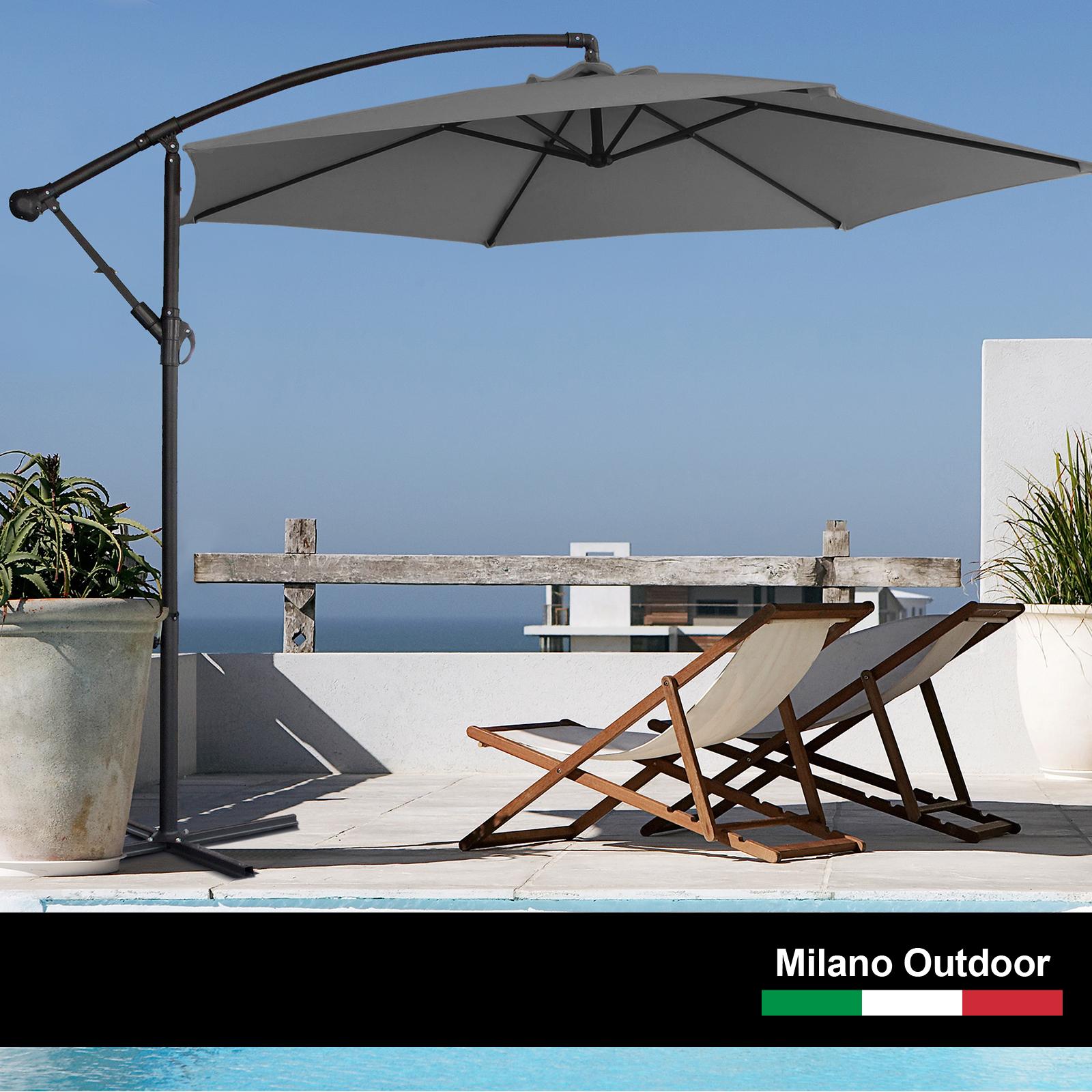 thumbnail 49 - Milano Outdoor 3 Metre Cantilever Umbrella UV Sunshade Garden Patio Deck