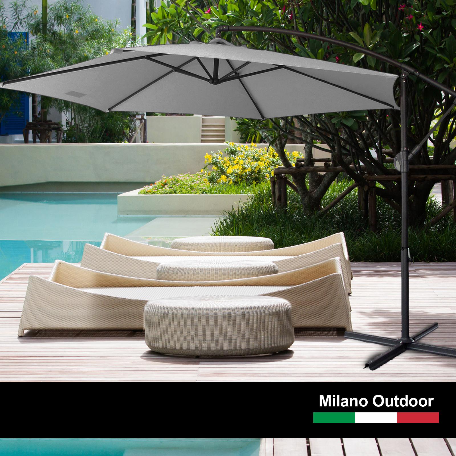 thumbnail 41 - Milano Outdoor 3 Metre Cantilever Umbrella UV Sunshade Garden Patio Deck