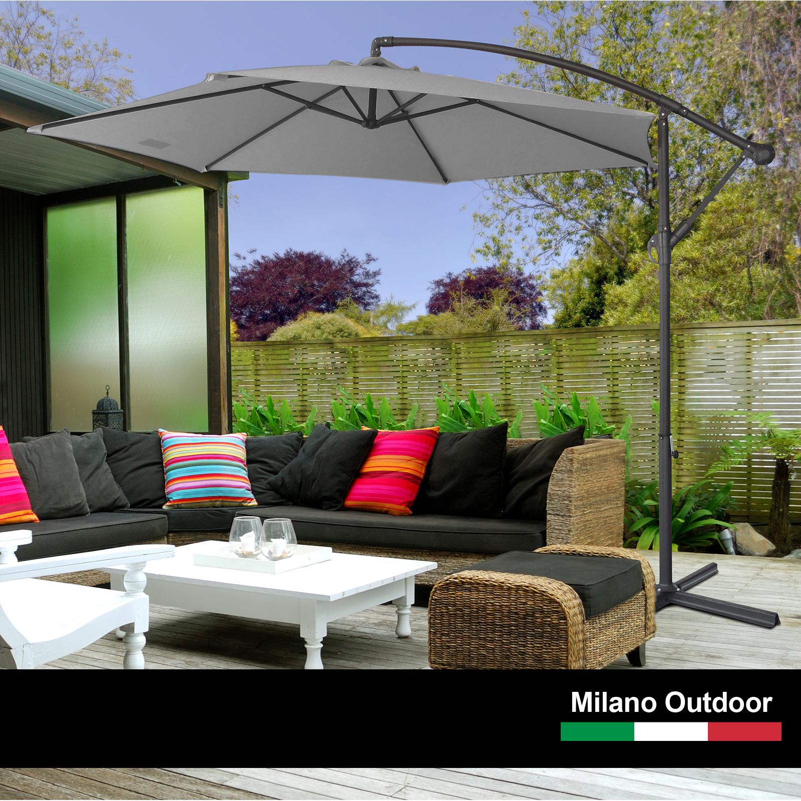 thumbnail 42 - Milano Outdoor 3 Metre Cantilever Umbrella UV Sunshade Garden Patio Deck