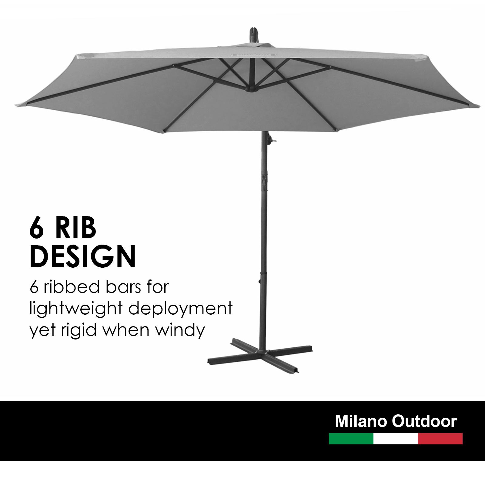 thumbnail 43 - Milano Outdoor 3 Metre Cantilever Umbrella UV Sunshade Garden Patio Deck