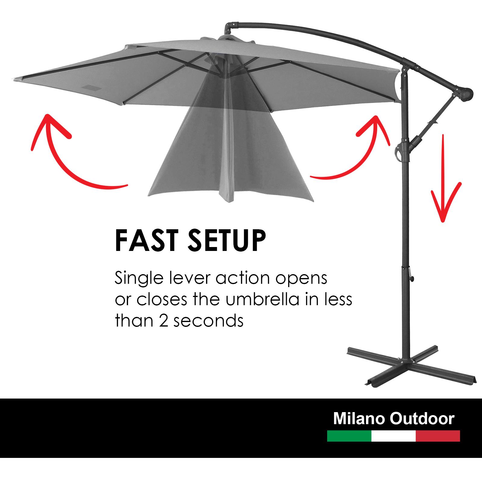 thumbnail 44 - Milano Outdoor 3 Metre Cantilever Umbrella UV Sunshade Garden Patio Deck