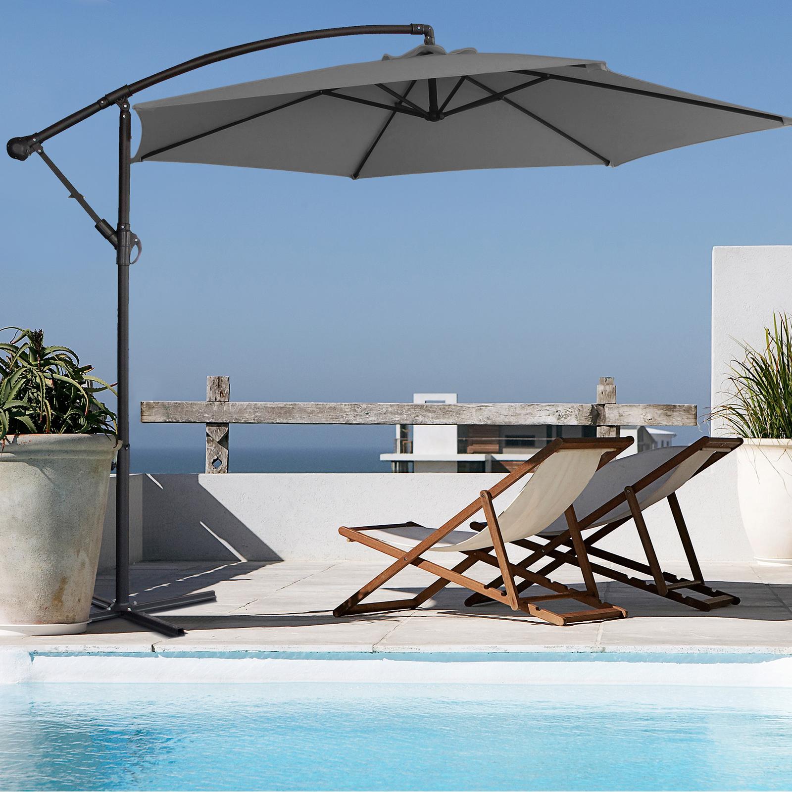 thumbnail 48 - Milano Outdoor 3 Metre Cantilever Umbrella UV Sunshade Garden Patio Deck
