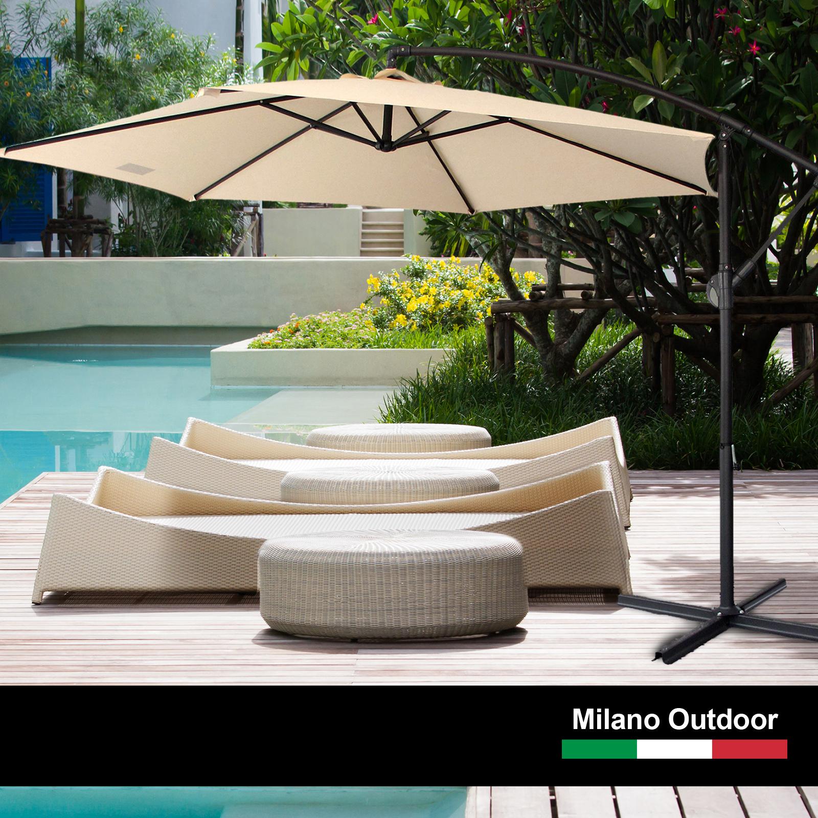 thumbnail 19 - Milano Outdoor 3 Metre Cantilever Umbrella UV Sunshade Garden Patio Deck