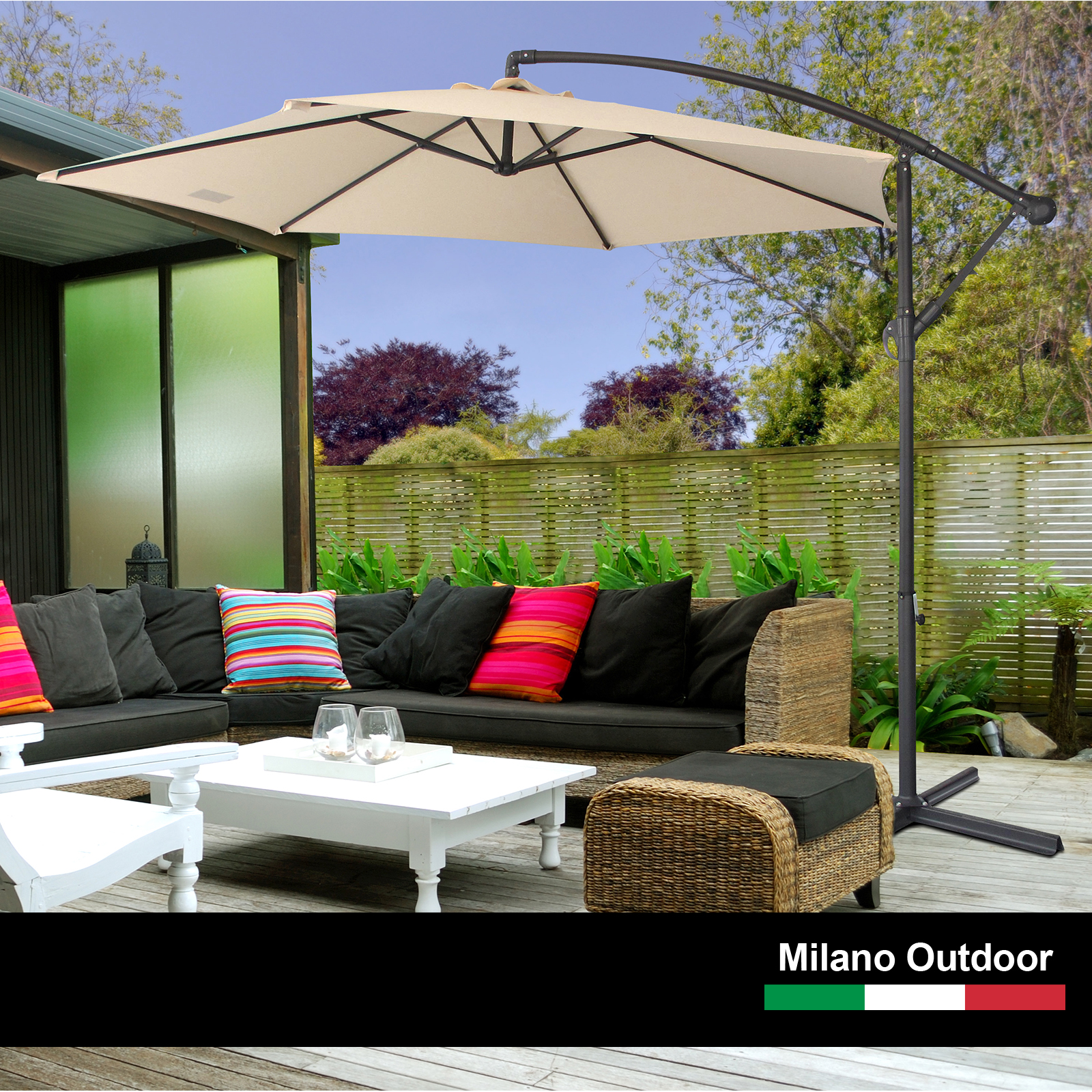 thumbnail 13 - Milano Outdoor 3 Metre Cantilever Umbrella UV Sunshade Garden Patio Deck