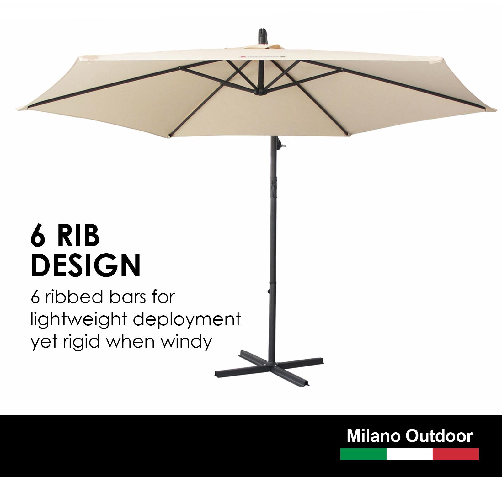 thumbnail 14 - Milano Outdoor 3 Metre Cantilever Umbrella UV Sunshade Garden Patio Deck