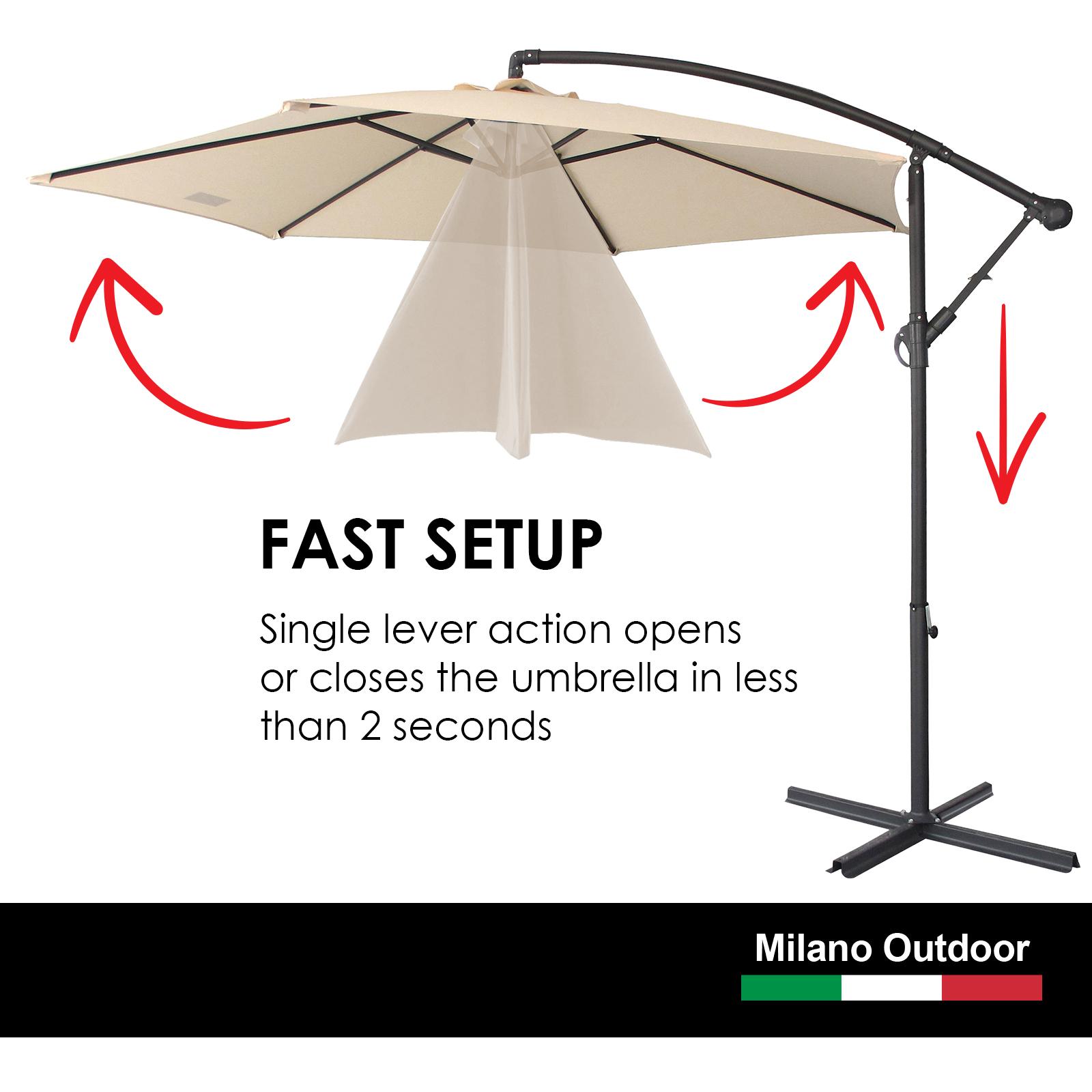 thumbnail 15 - Milano Outdoor 3 Metre Cantilever Umbrella UV Sunshade Garden Patio Deck