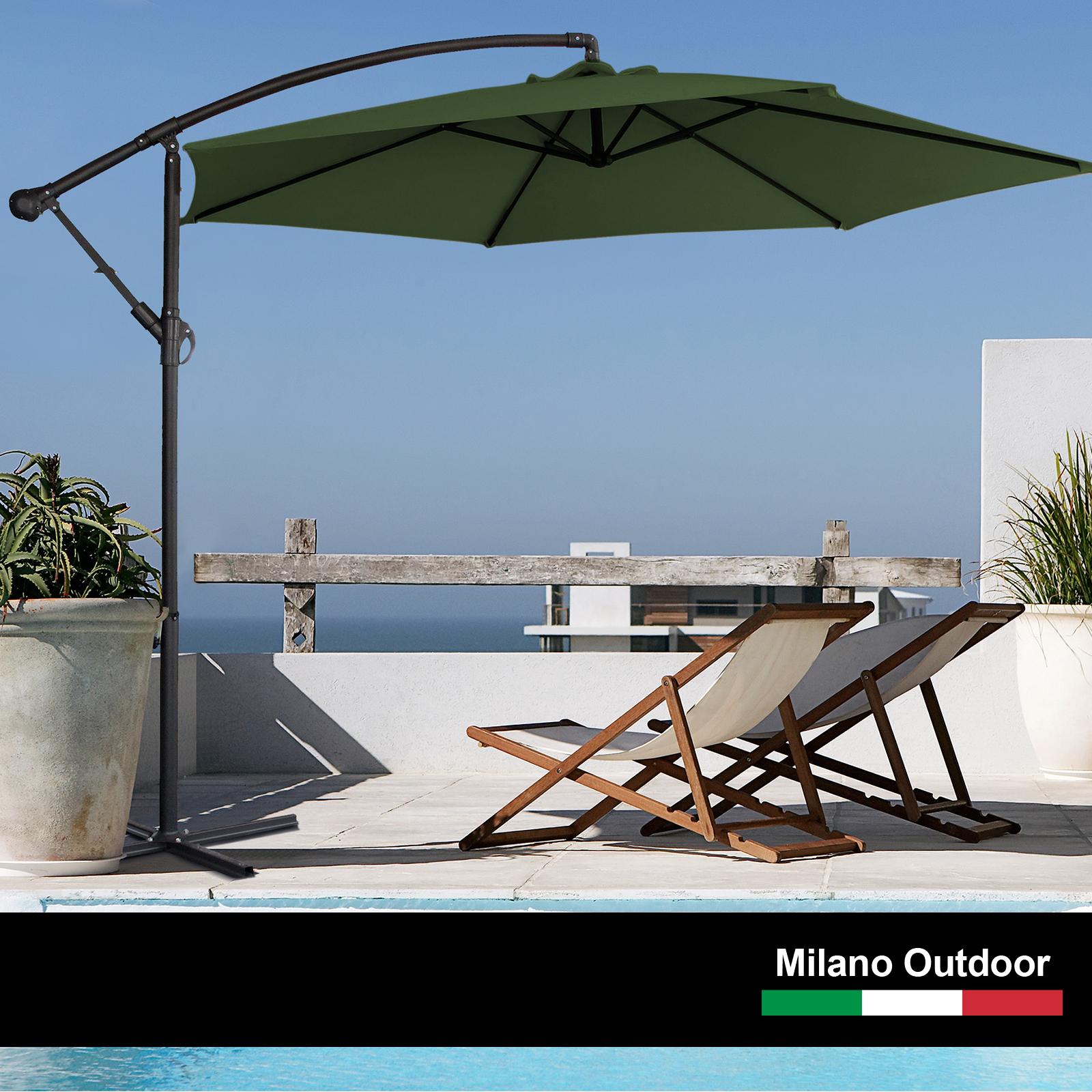 thumbnail 39 - Milano Outdoor 3 Metre Cantilever Umbrella UV Sunshade Garden Patio Deck