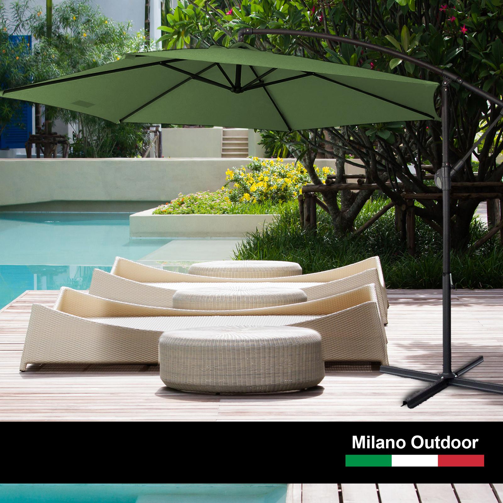 thumbnail 31 - Milano Outdoor 3 Metre Cantilever Umbrella UV Sunshade Garden Patio Deck