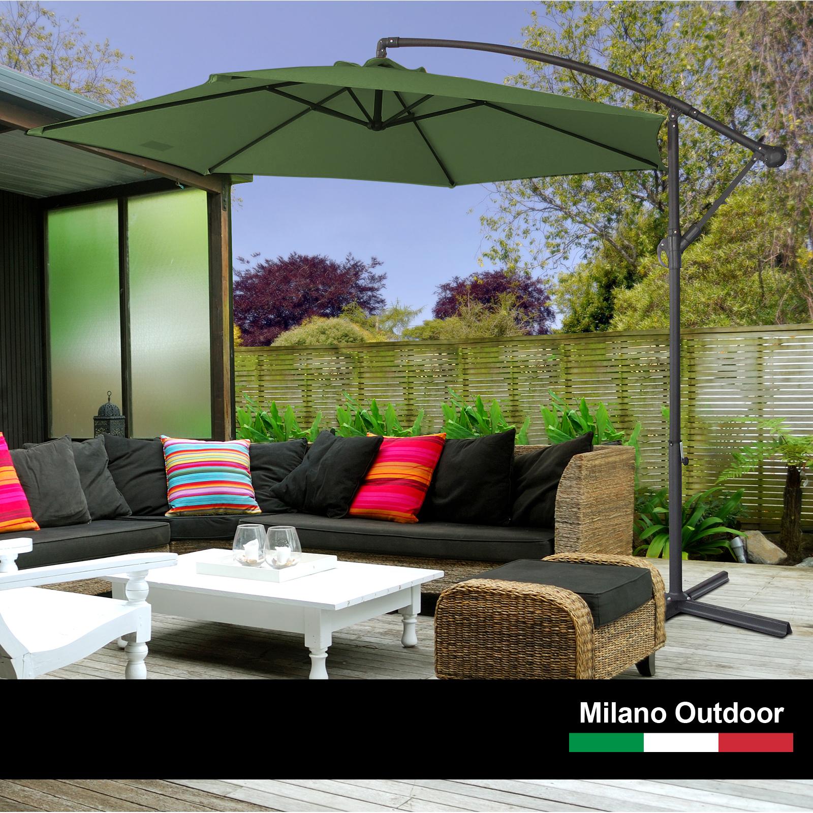 thumbnail 32 - Milano Outdoor 3 Metre Cantilever Umbrella UV Sunshade Garden Patio Deck