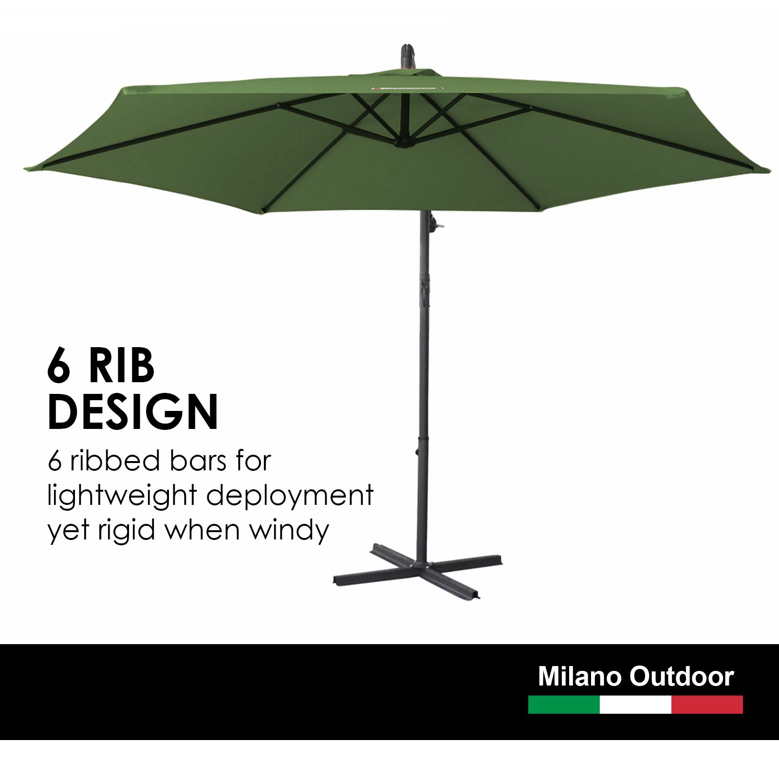 thumbnail 33 - Milano Outdoor 3 Metre Cantilever Umbrella UV Sunshade Garden Patio Deck
