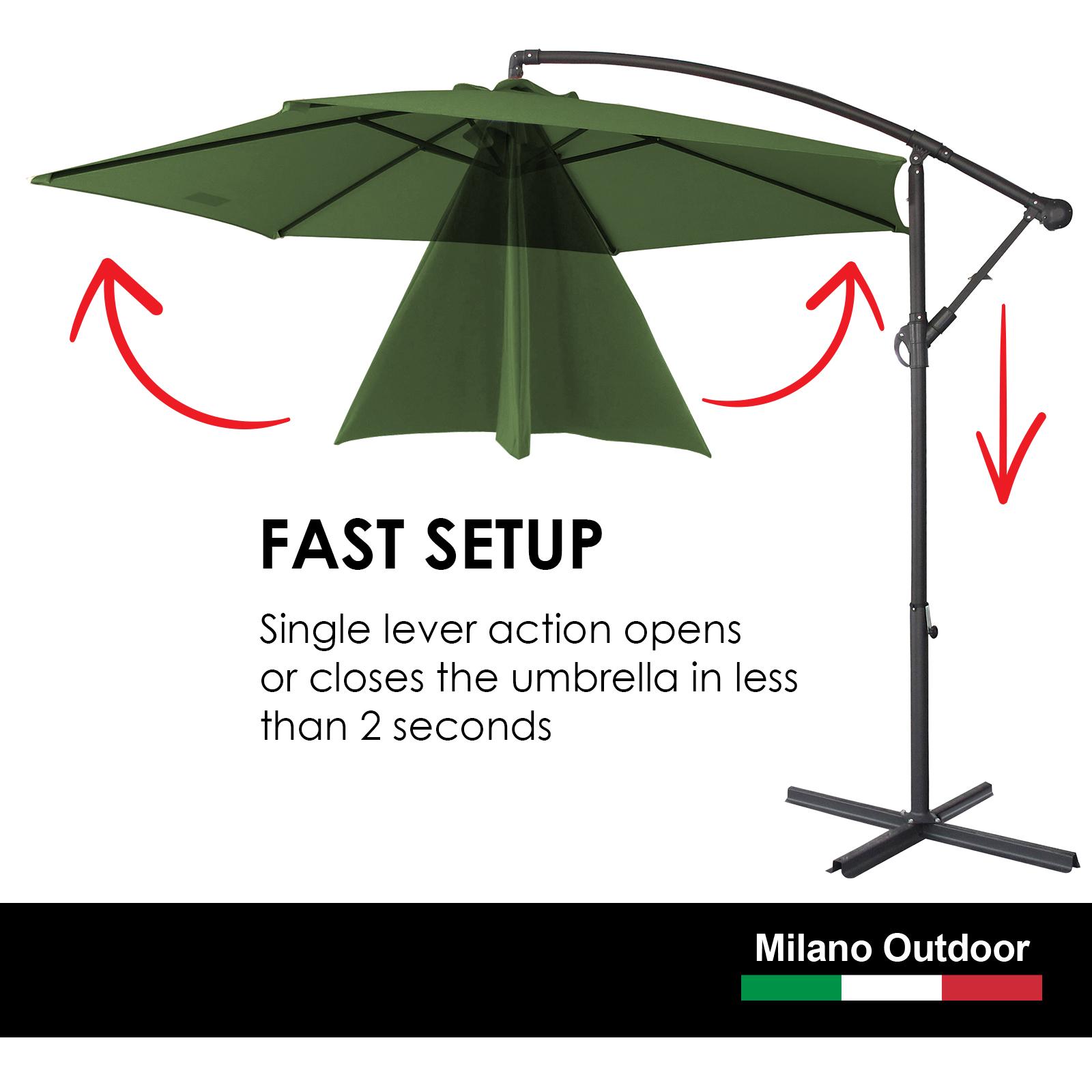 thumbnail 34 - Milano Outdoor 3 Metre Cantilever Umbrella UV Sunshade Garden Patio Deck