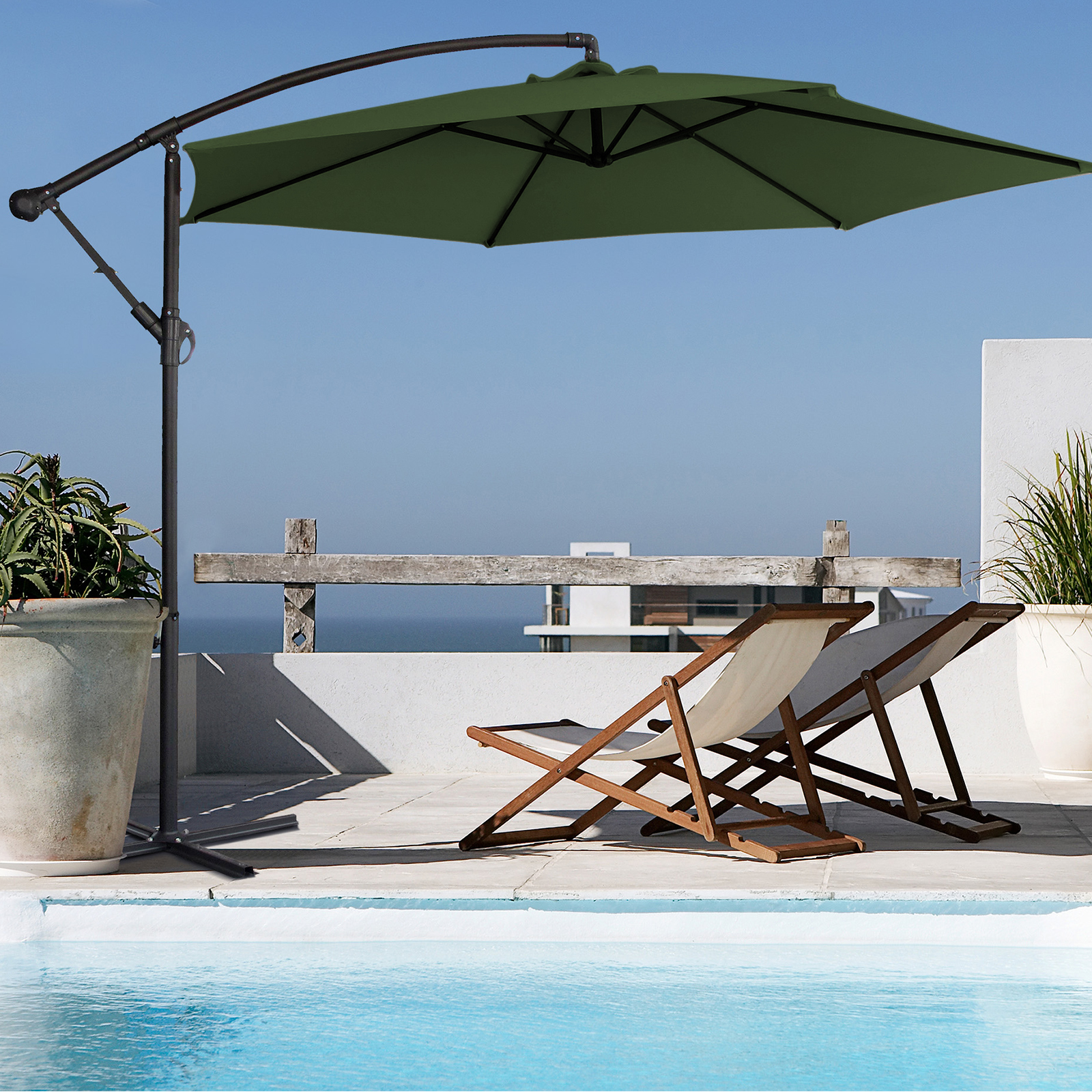 thumbnail 37 - Milano Outdoor 3 Metre Cantilever Umbrella UV Sunshade Garden Patio Deck