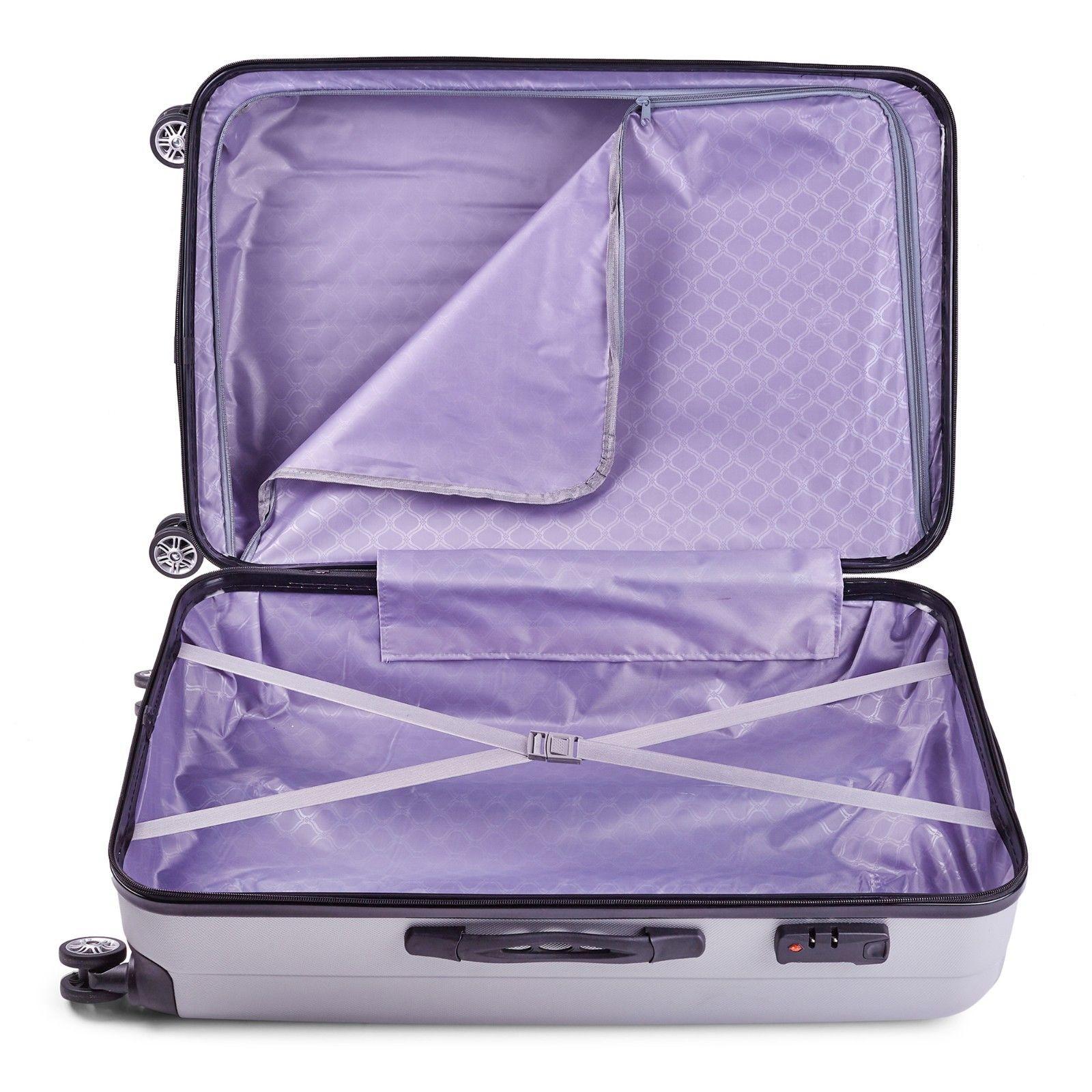 Milano-Premium-3pc-ABS-Luggage-Suitcase-Luxury-Hard-Case-Shockproof-Travel-Set thumbnail 36
