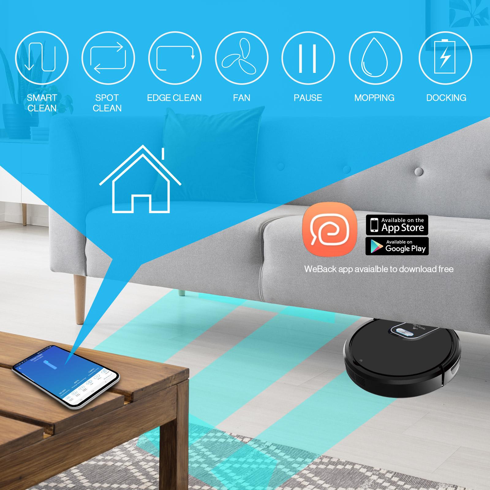 thumbnail 4 - MyGenie WI-FI GMAX Robotic Vacuum Cleaner Mop App Control Dry & Wet Auto Robot