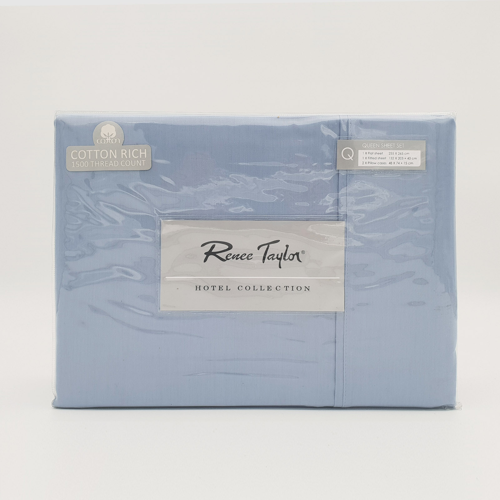 Renee-Taylor-1500-Thread-Count-Pure-Soft-Cotton-Blend-Flat-amp-Fitted-Sheet-Set thumbnail 8