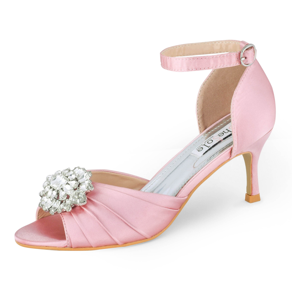 Womens Ladies Low Kitten Heel Sandals Ankle Strap Wedding